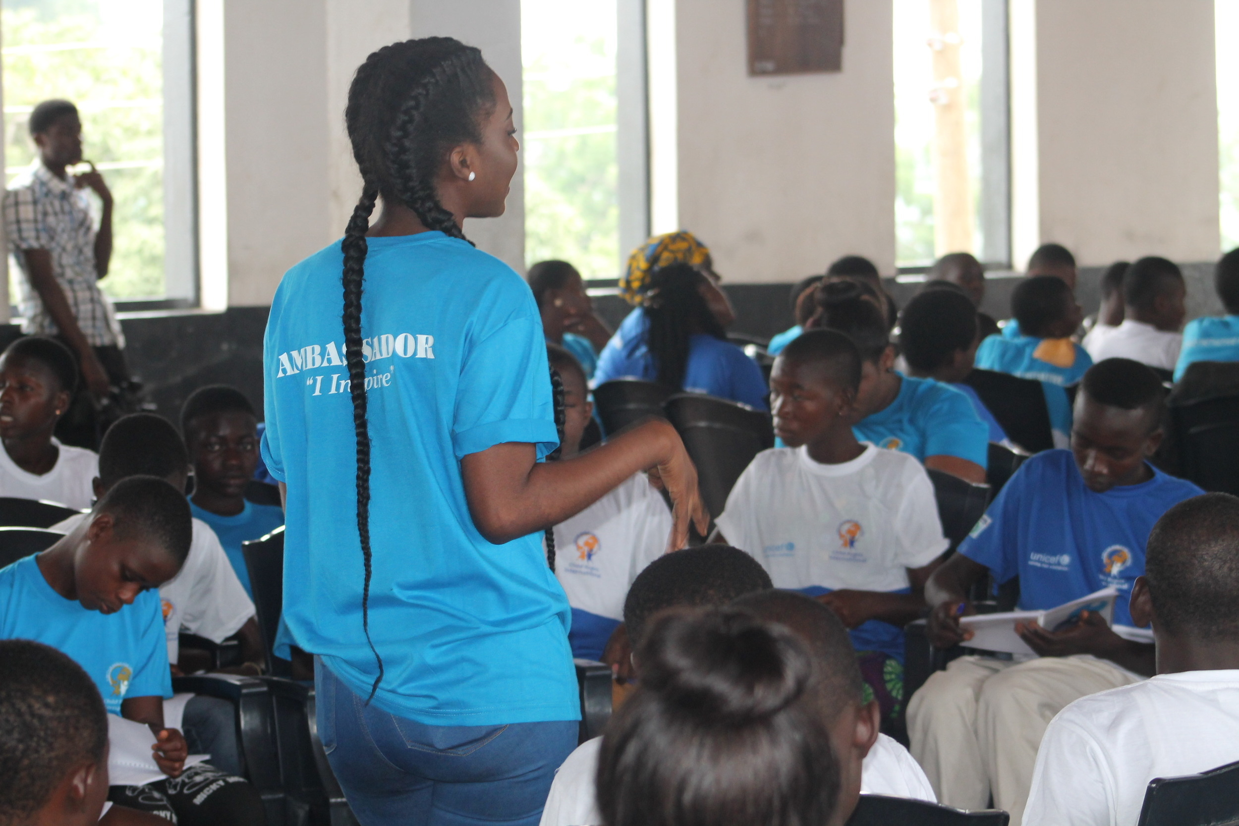 Inspiring Ambassador Maame Yaa interacts with children during the Child Initiative Forum  Photo by Stephanie Gasana