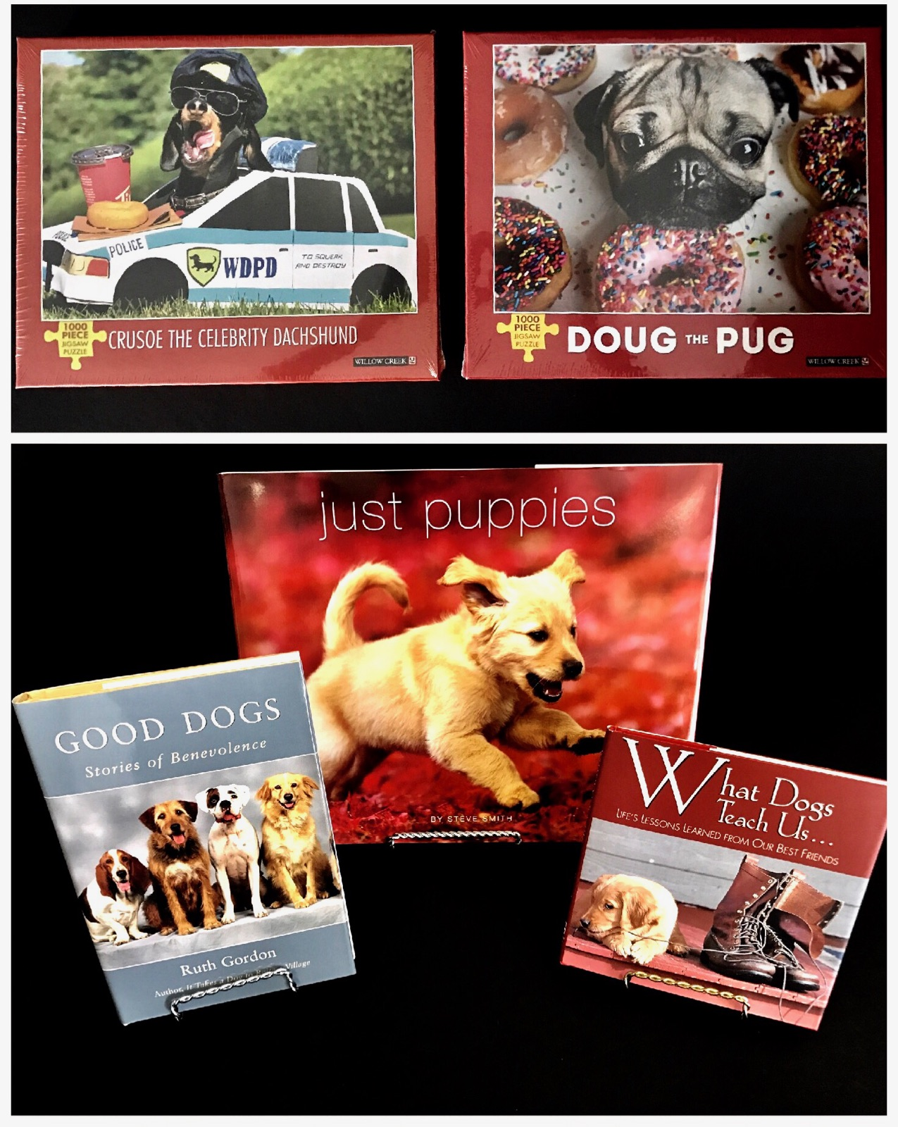 Puzzles& Books - You can never go wrong with an exciting dog book or an appealing dog puzzle! Keep everyone amused with a variety of dog themed entertainment! Shop your favorites today!