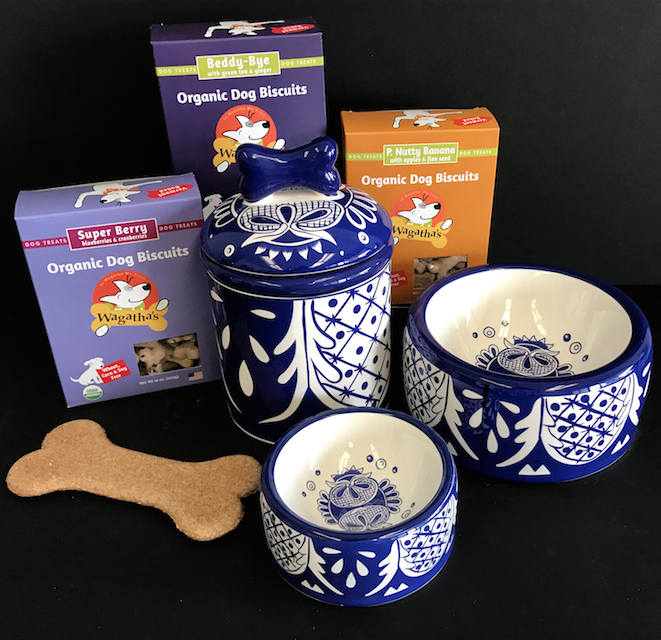 - Our Organic Dog Biscuits will look AND taste great in these beautiful Treat Jars and Dog Dishes!