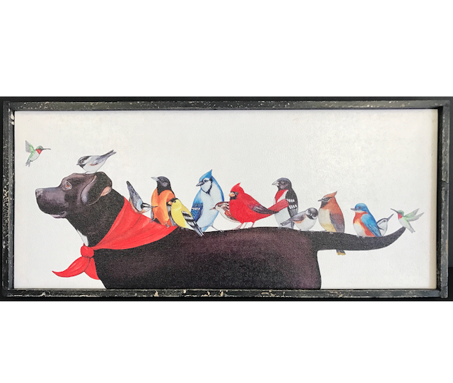 Birds on a Dog Canvas - Add some fun to your walls with this adorable and sweet canvas!