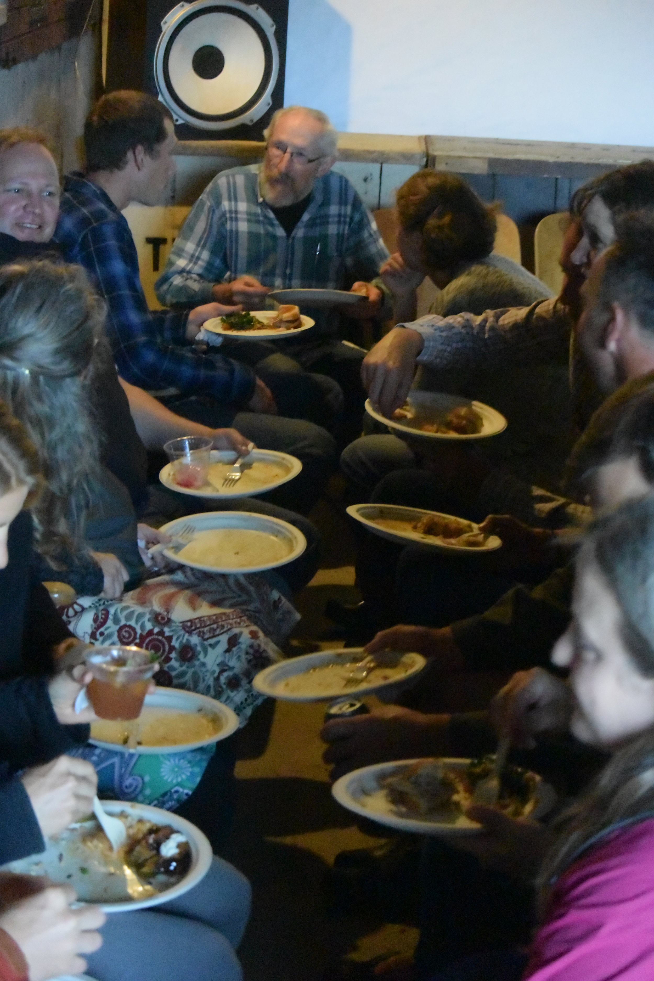 Folks enjoying food donated by Lake Avenue Restaurant, The Duluth Grill, At Sara's Table, and the Whole Foods Coop.
