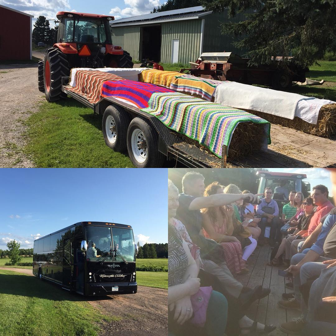 Guests arrive in style on a Charter bus enjoying Champagne and hors d'oeuvres on their ride here. Complete with a tractor ride to the dinner...