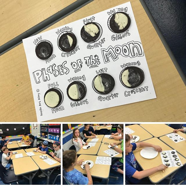 4th Grade uses Oreos to learn about the phases of the moon!  #4thGrade #elementaryschool #elementaryschoolscience #moon #phases #Oreo #Oreos #cookies #Science #STEM #JSTEM #ball #outerspace #space #learning #playing #eating #learn #play #eat #JewishEducation #Jewish #Community #Education #JewishCommunity #teach #explore #dream #discover #JewishDaySchool