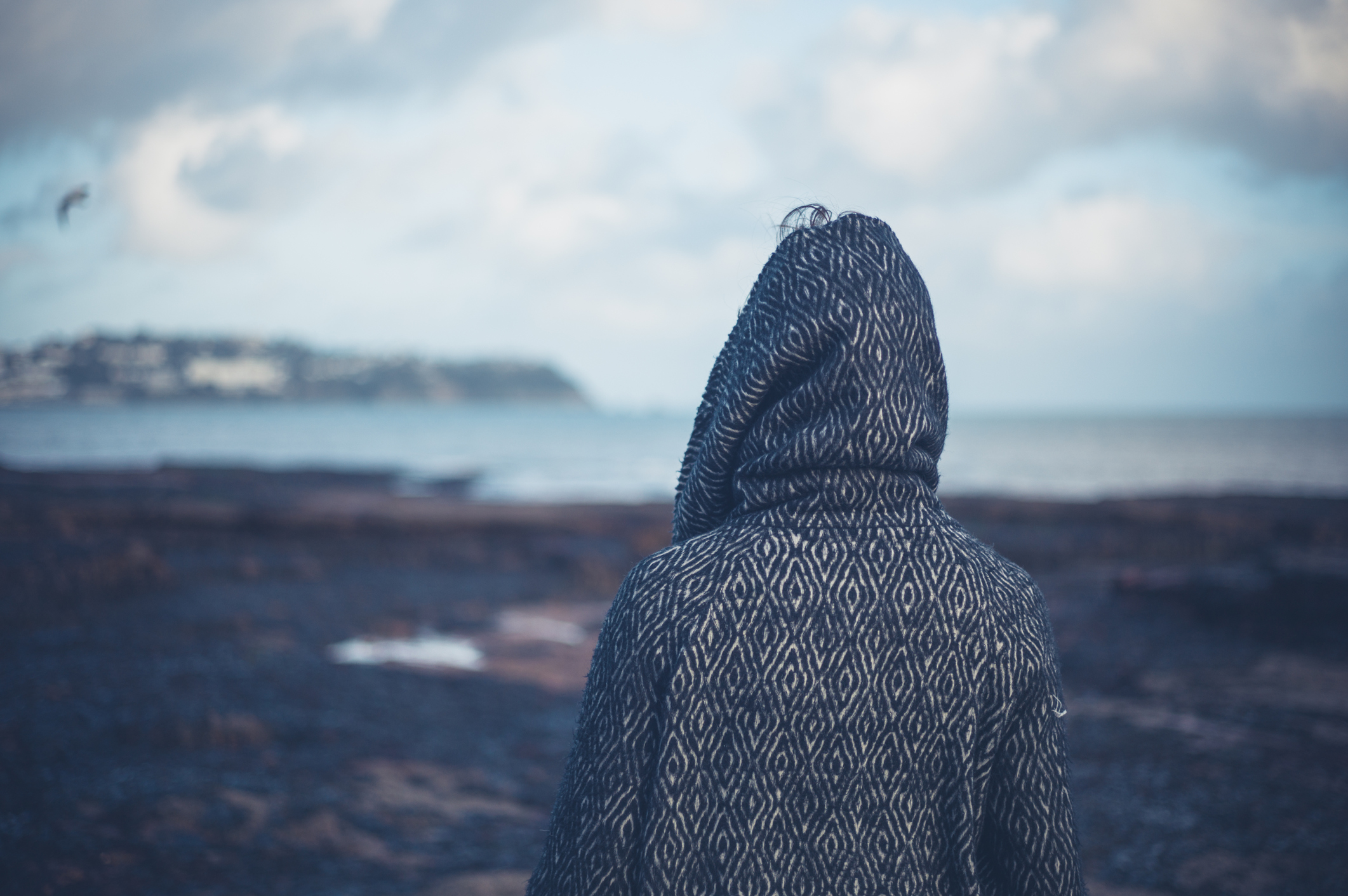 person in hoodie standing on a rocky beach
