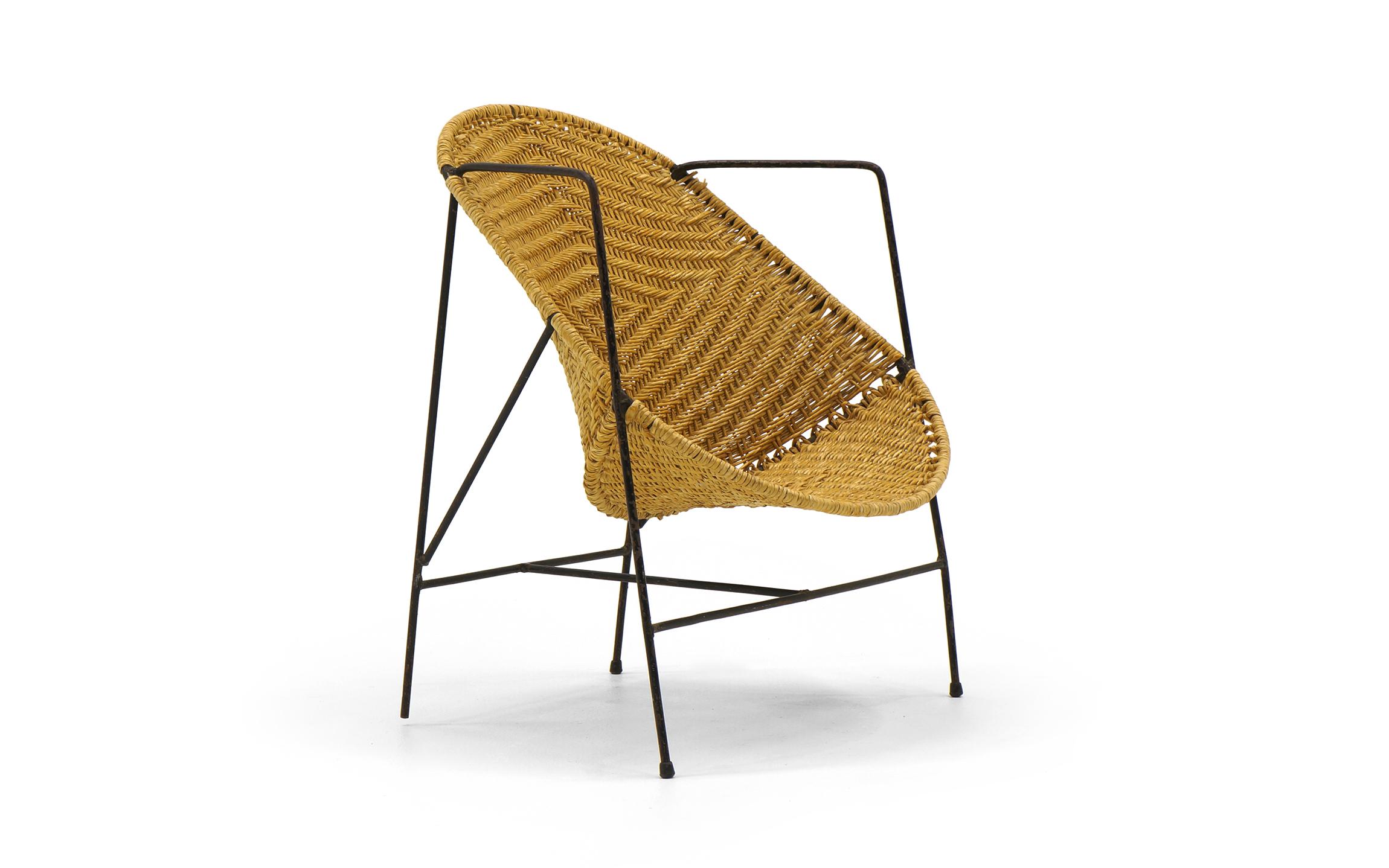 John Salterini Childs Chair Wrought Iron And Wicker Retro Inferno