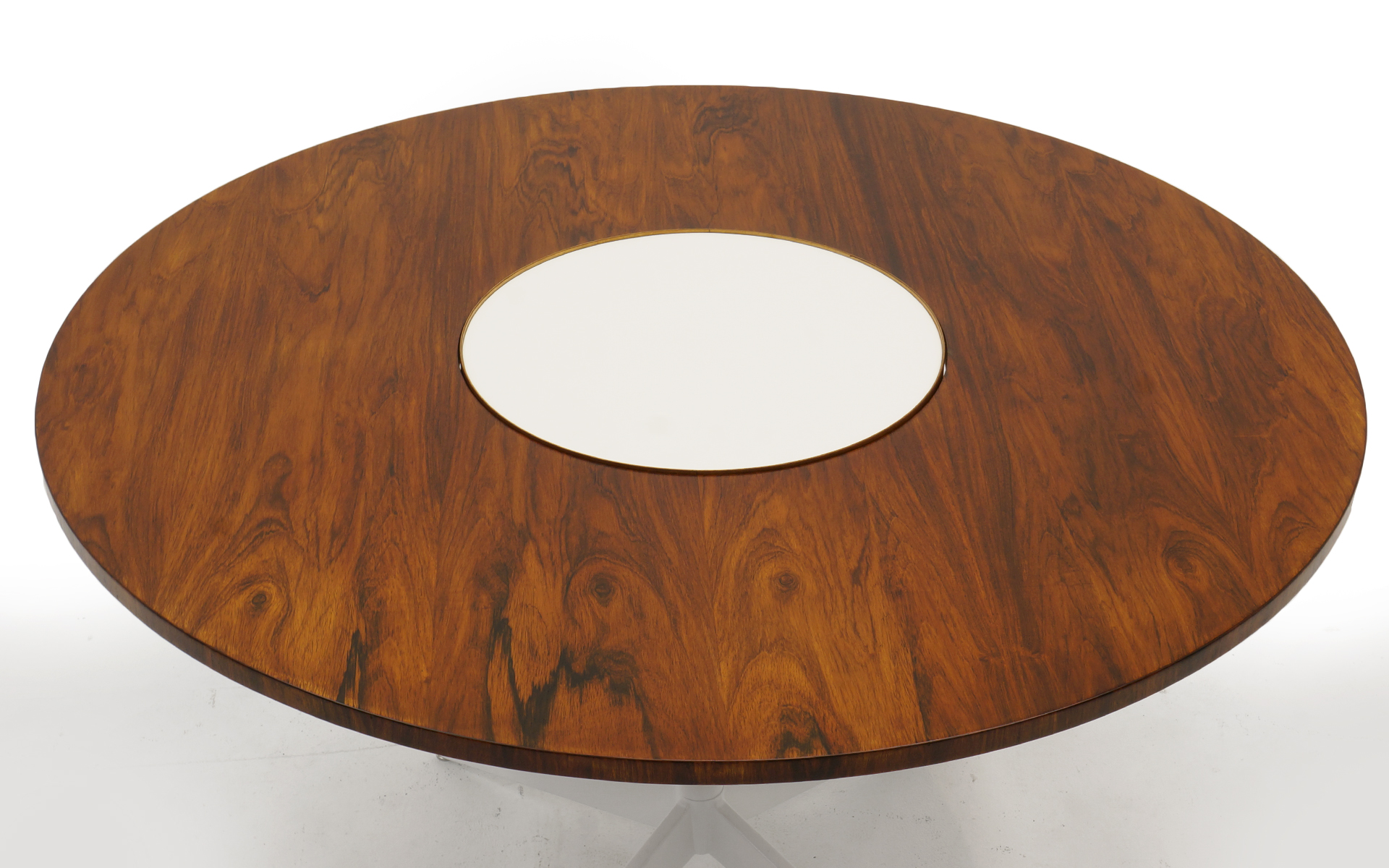 Lazy Susan Round Dining Table Very Rare Brazilian Rosewood Top Retro Inferno
