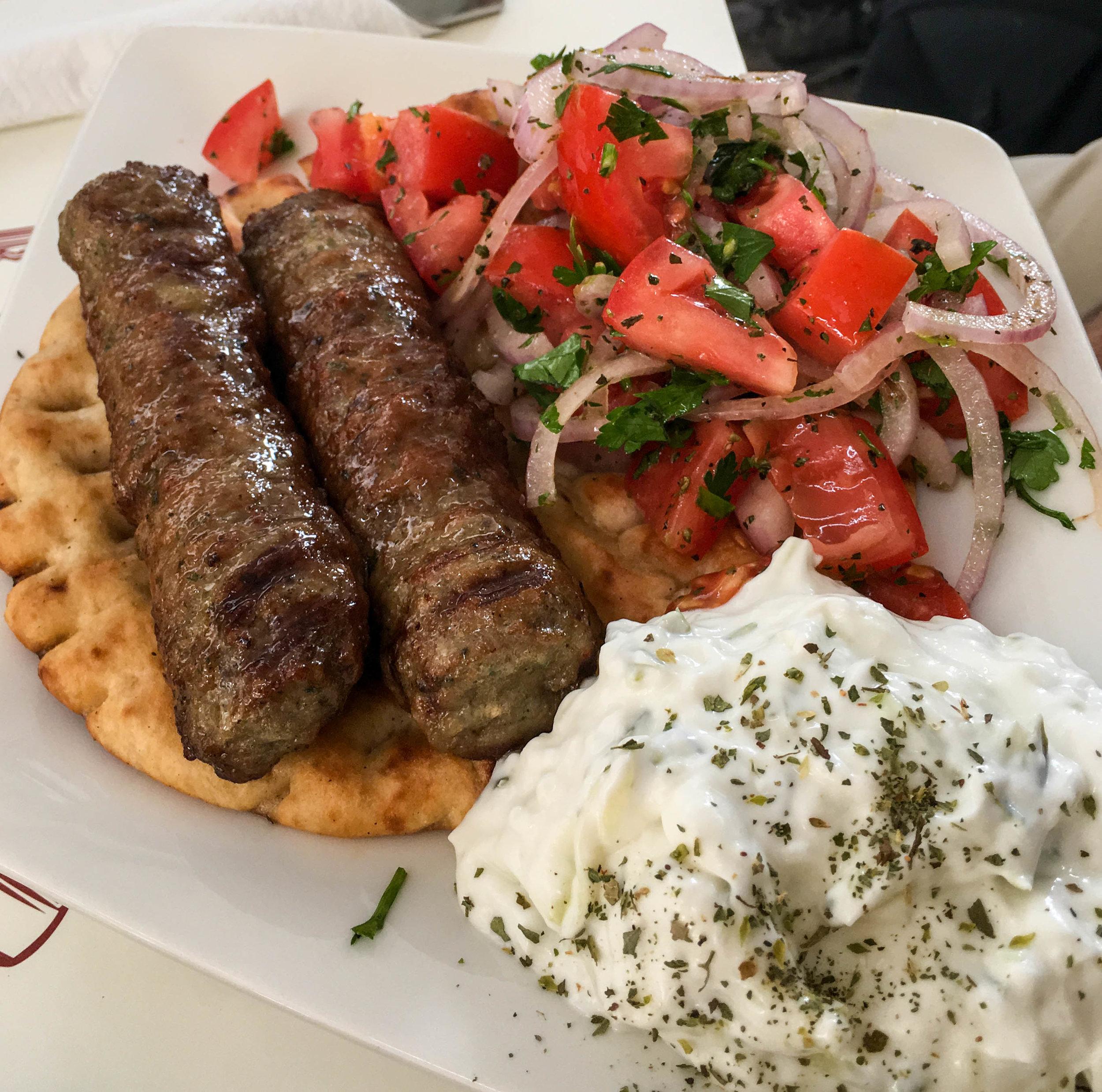 Kebabs, Café Amoroso, Athens, Greece