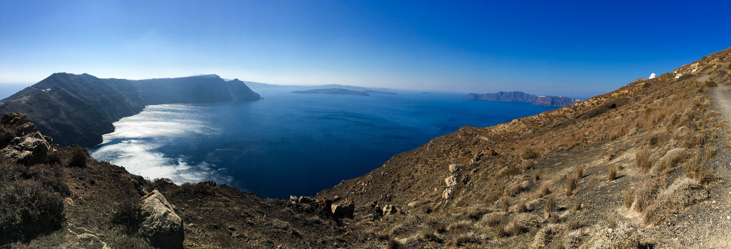 Views on the hike from Fira to Oia, Santorini, Greece