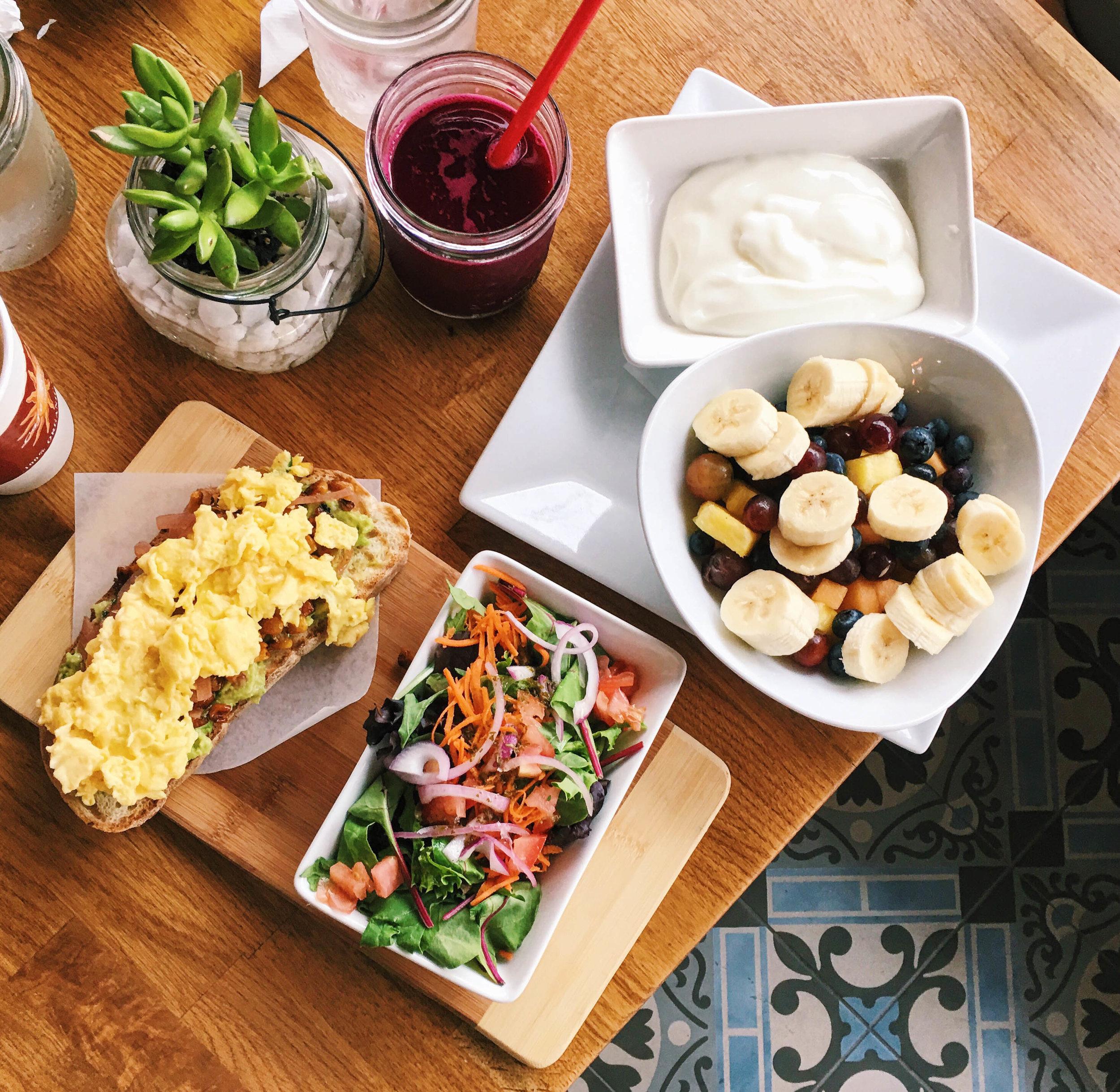Avocado Toast, Fruit Plate, and Detox Juice, Café Solar, Westchester, CA