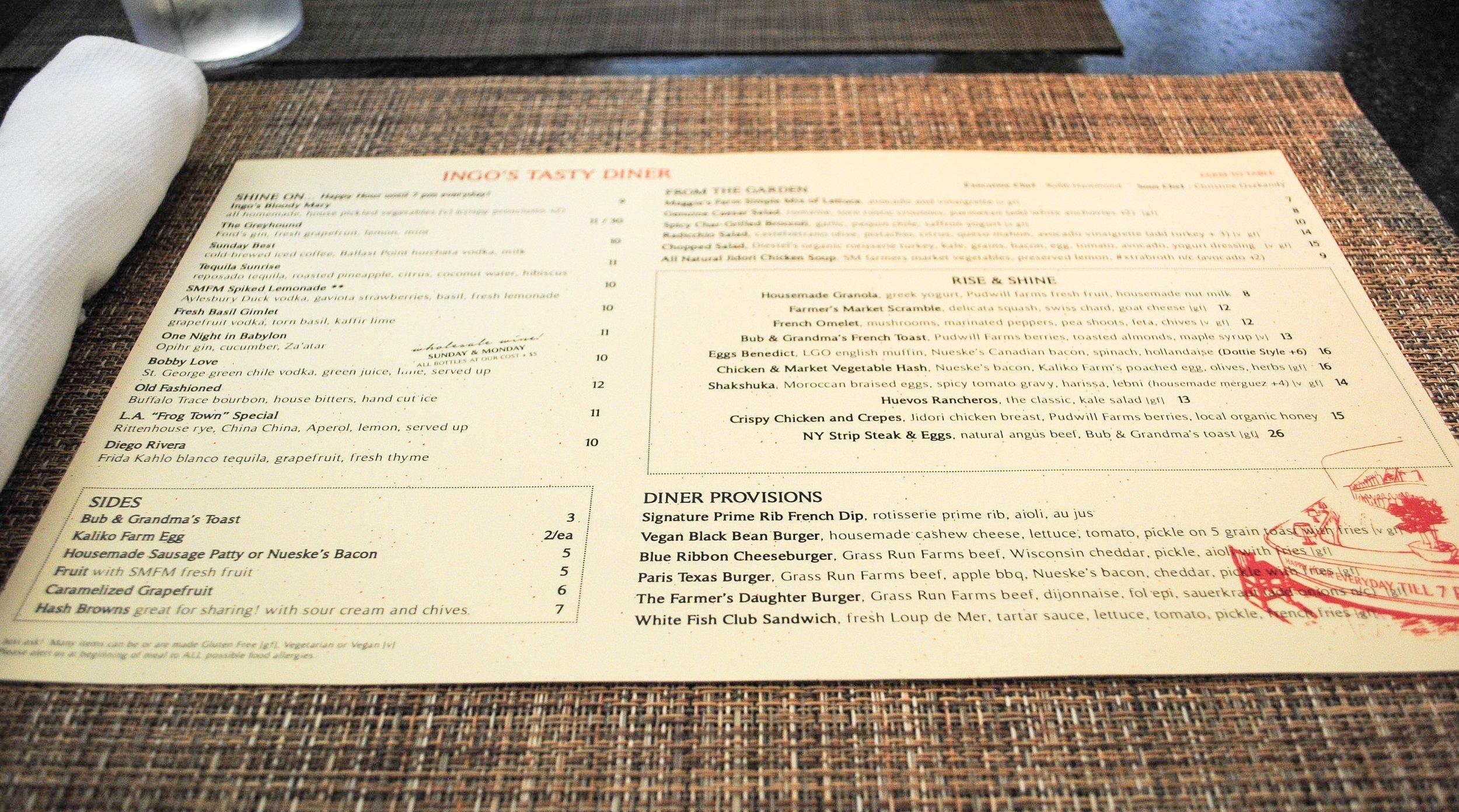 Menu at Ingo's Tasty Diner, Santa Monica, CA