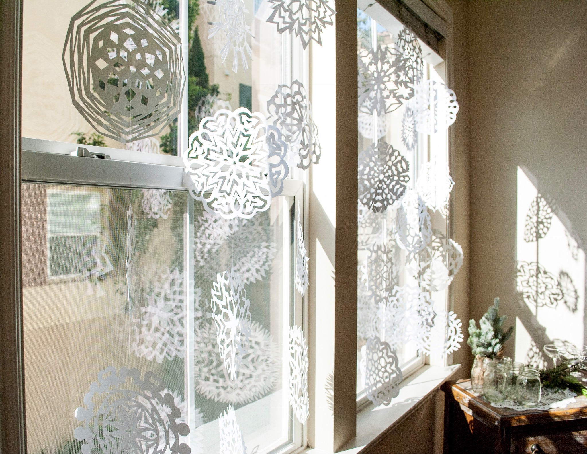 Paper snowflakes in the windows