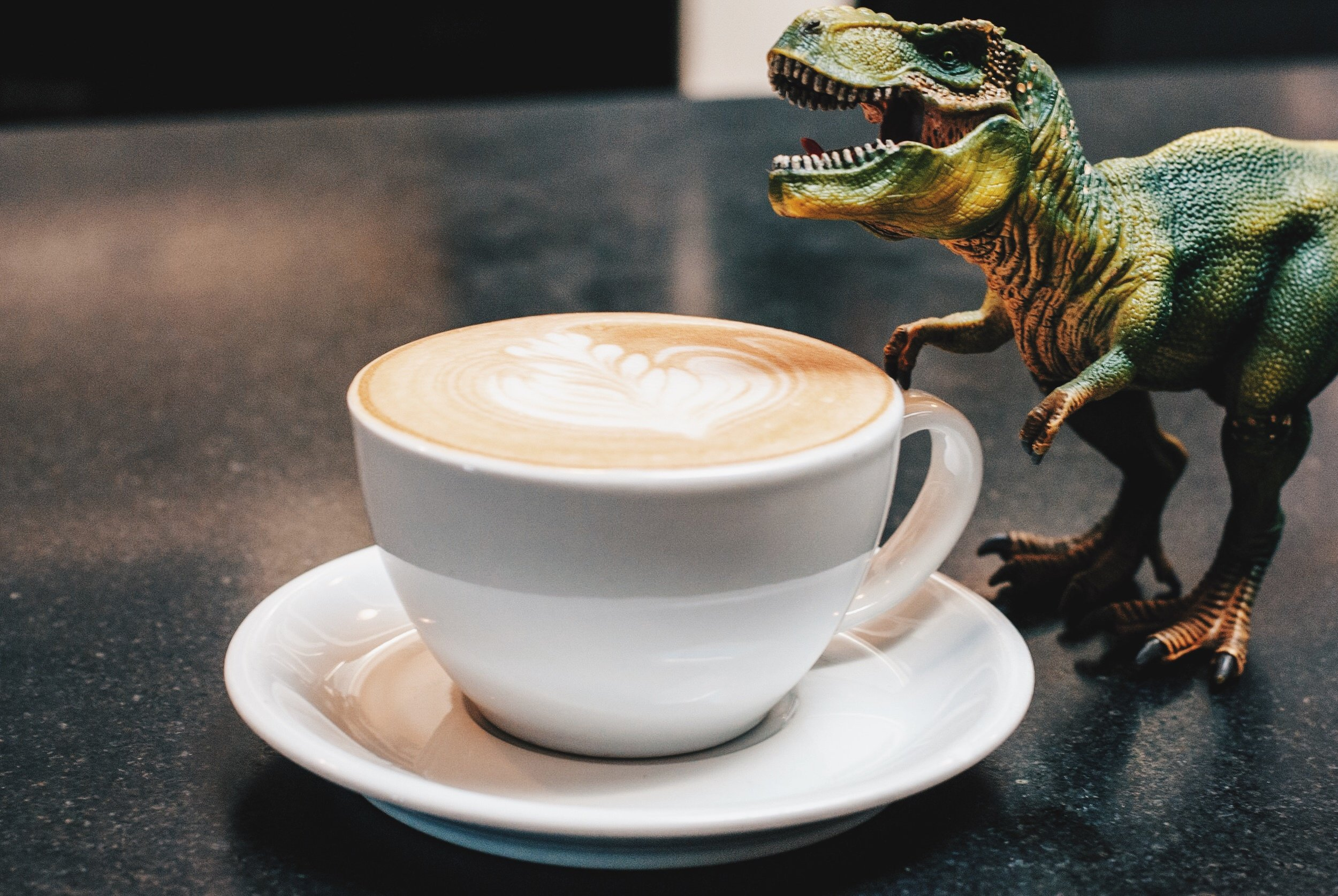 I mean... sometimes Dinos need coffee too, right? Caffe Luxxe, Santa Monica, CA