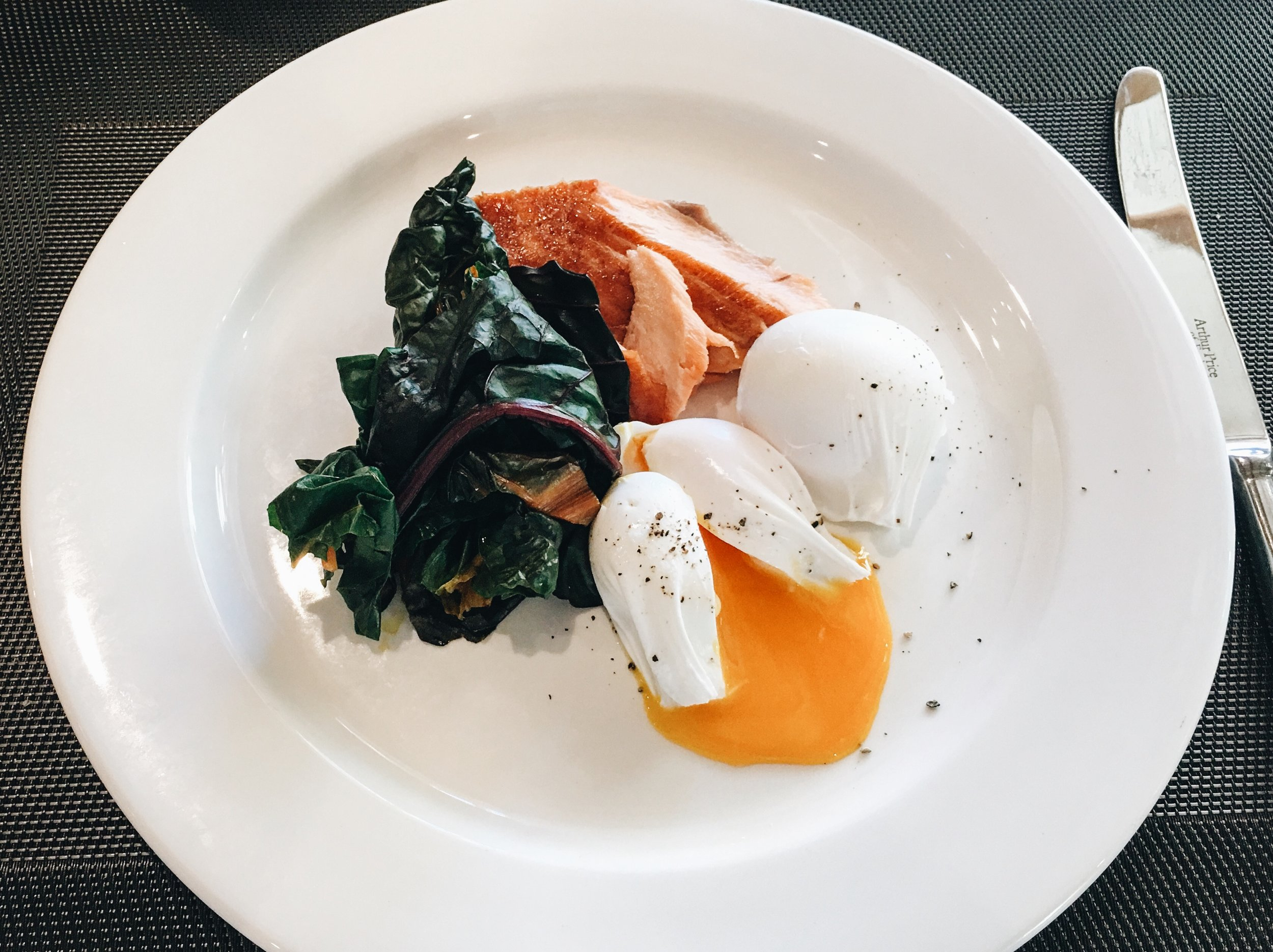 Poached Eggs with Smoked Salmon, Thyme, Southrop
