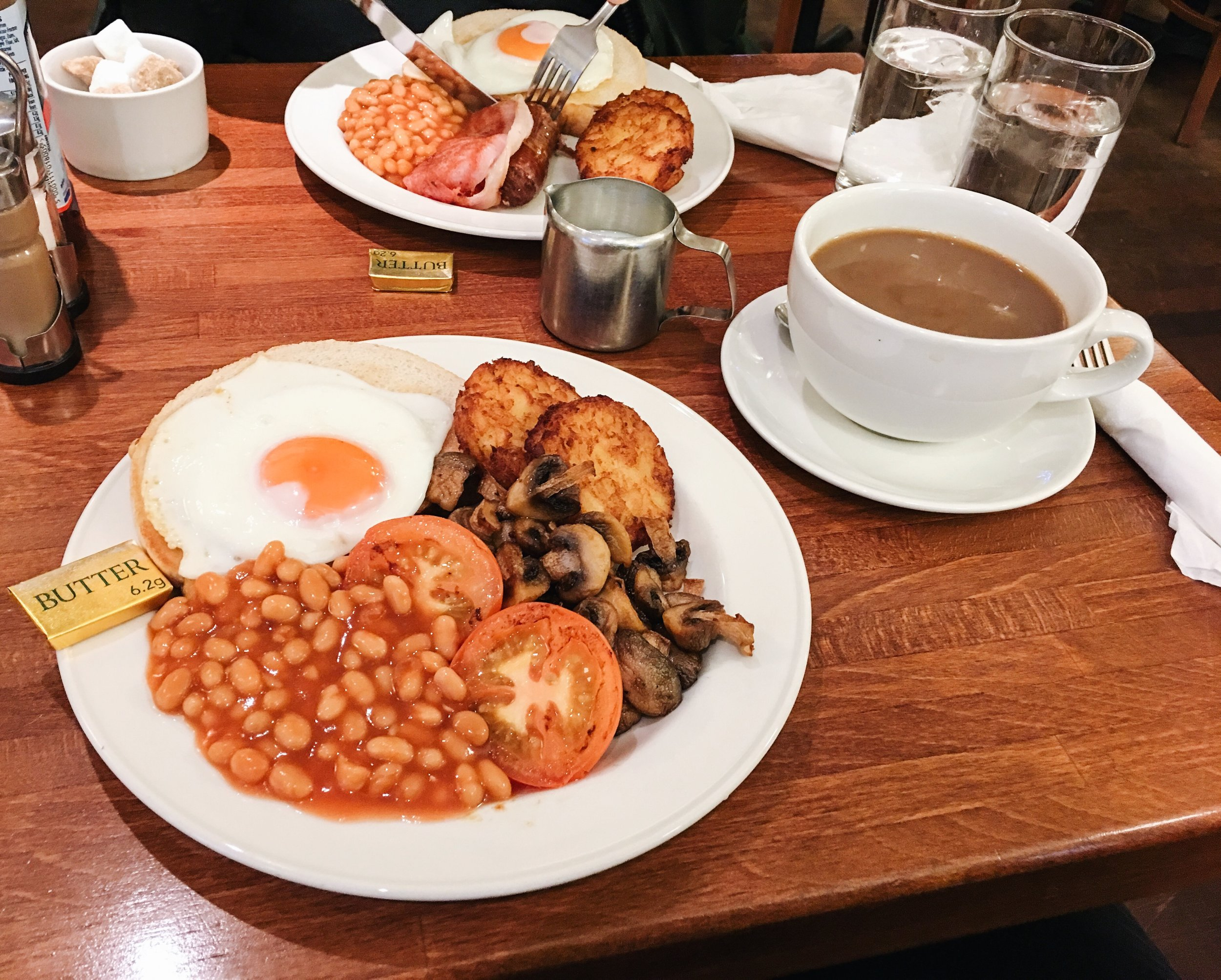 Vegetarian English Breakfast (front) and Full English Breakfast (rear) at News Café, Oxford