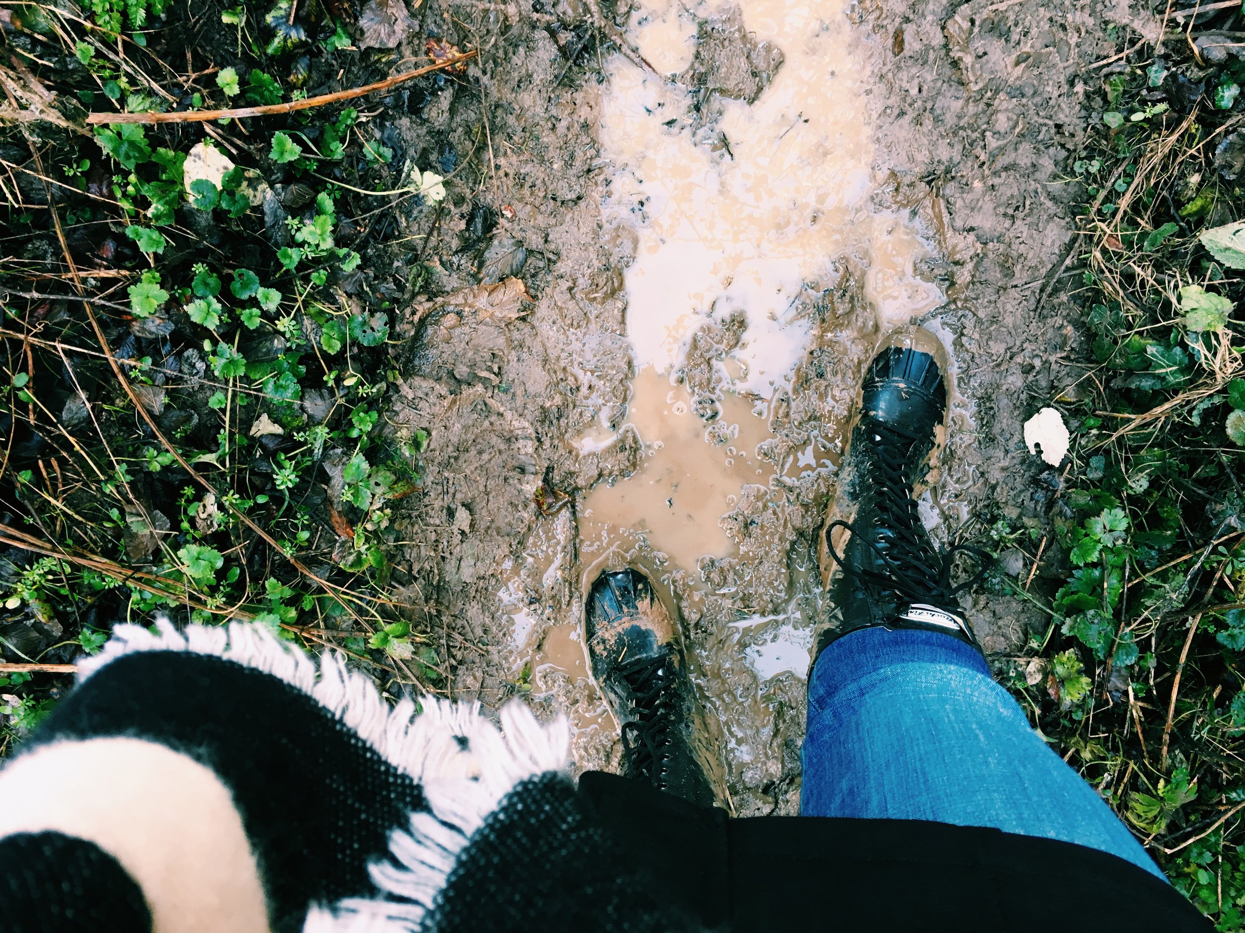 Getting muddy on a country walk in Southrop