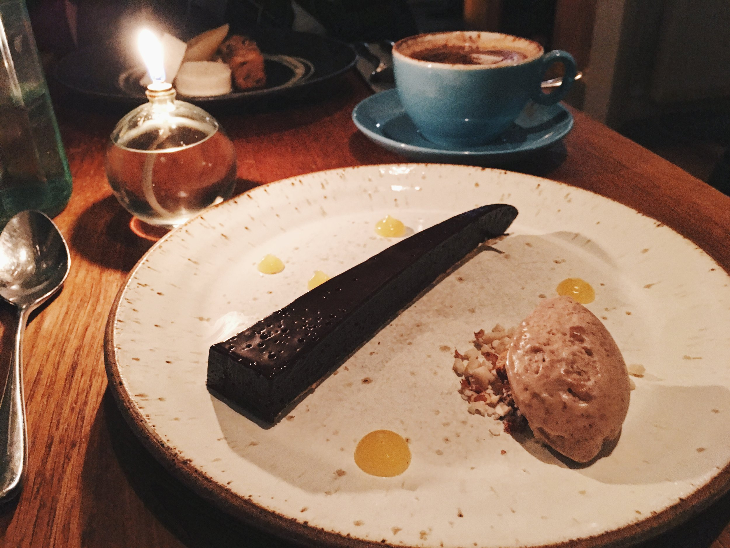 Salted Chocolate Tart at Acorn Vegetarian Kitchen, Bath