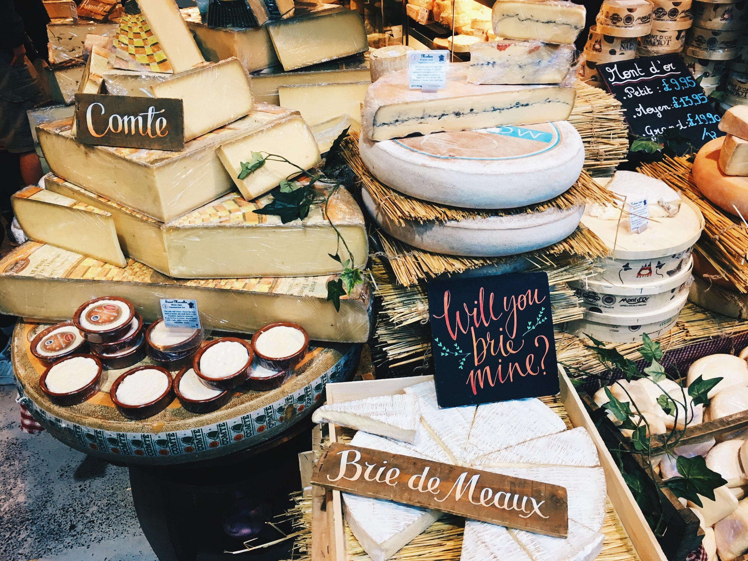 So many beautiful cheeses at Borough Market, London