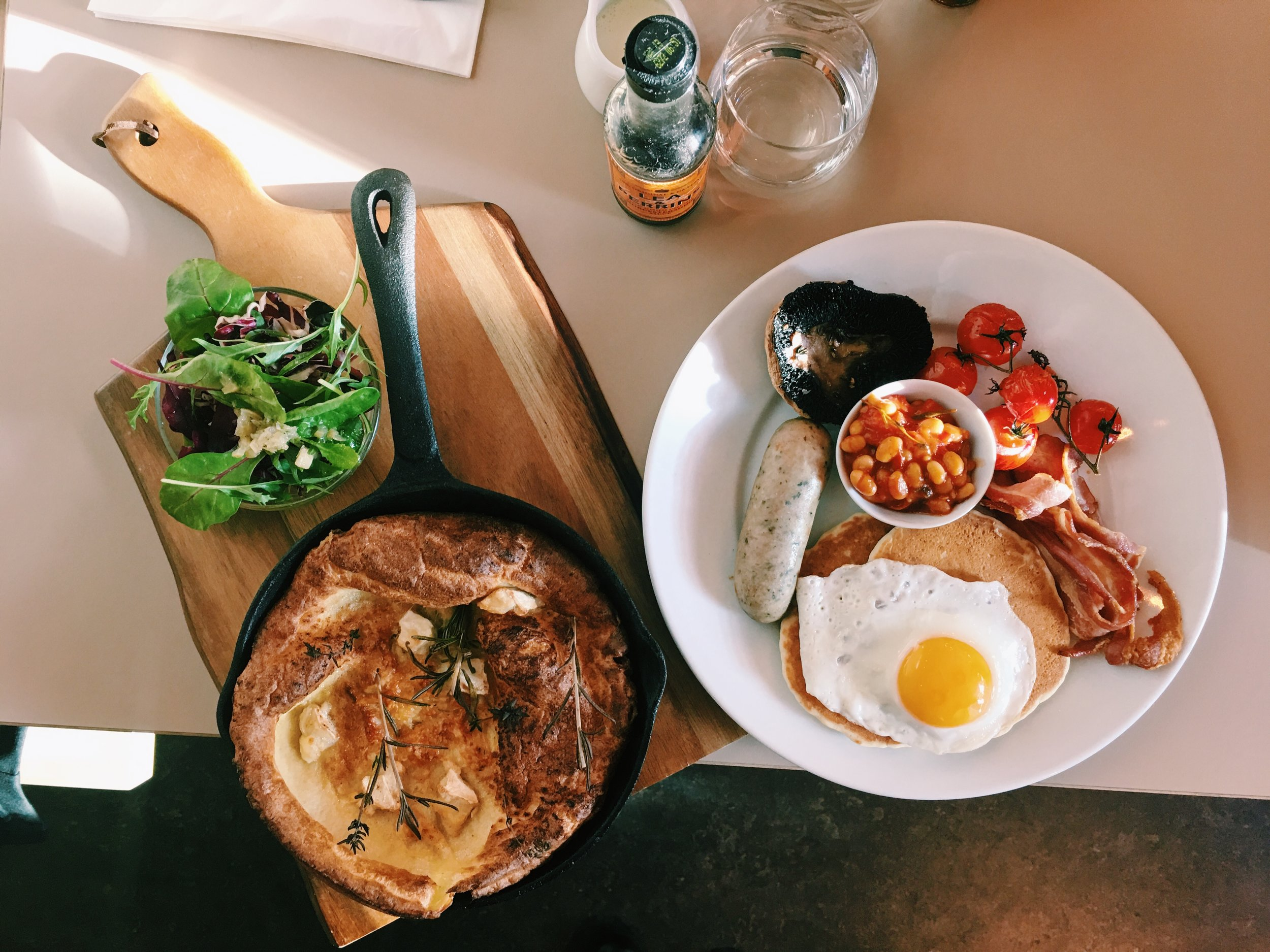 The Savo(u)ry Dutch Baby (left) and the Breakfast (right), Where the Pancakes Are, London
