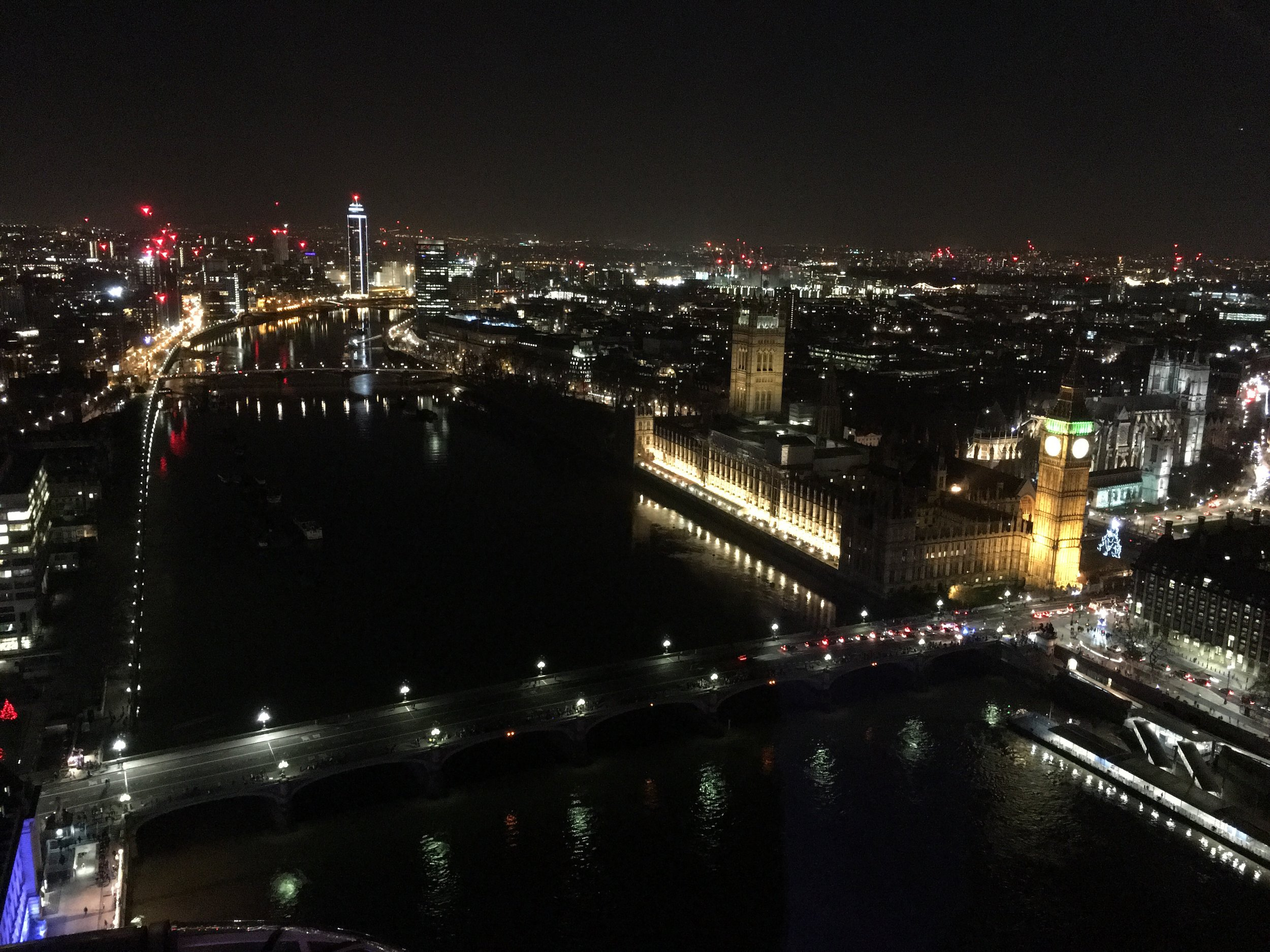 London at night, as seen from the London Eye