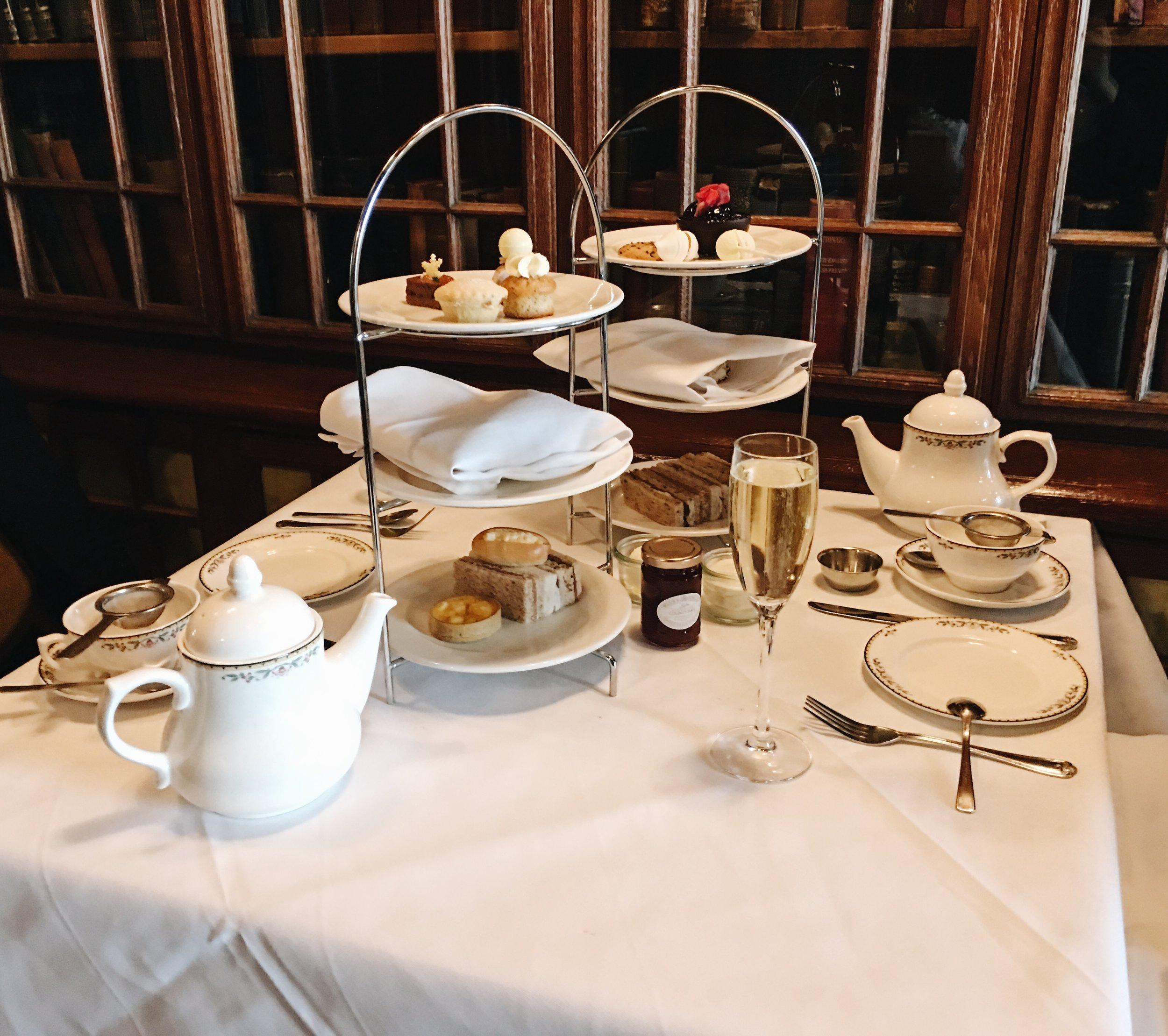 Tea for two at the Library Lounge, London. The spread on the left is the traditional version, and the one on the right is dairy-free.