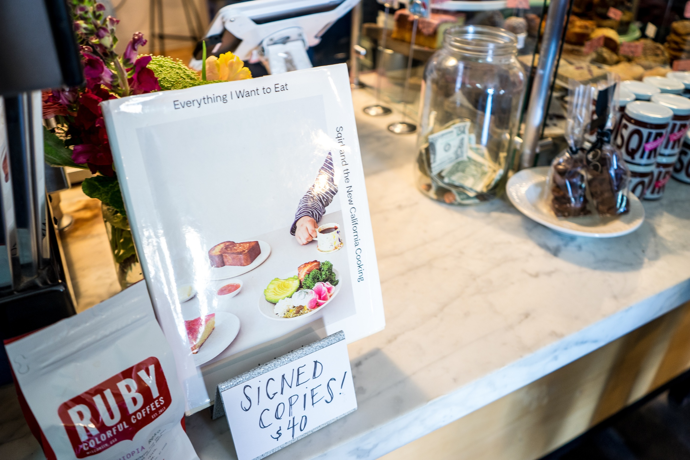 Koslow's new cookbook, Everything I Want to Eat, for sale at Sqirl, Silver Lake, CA
