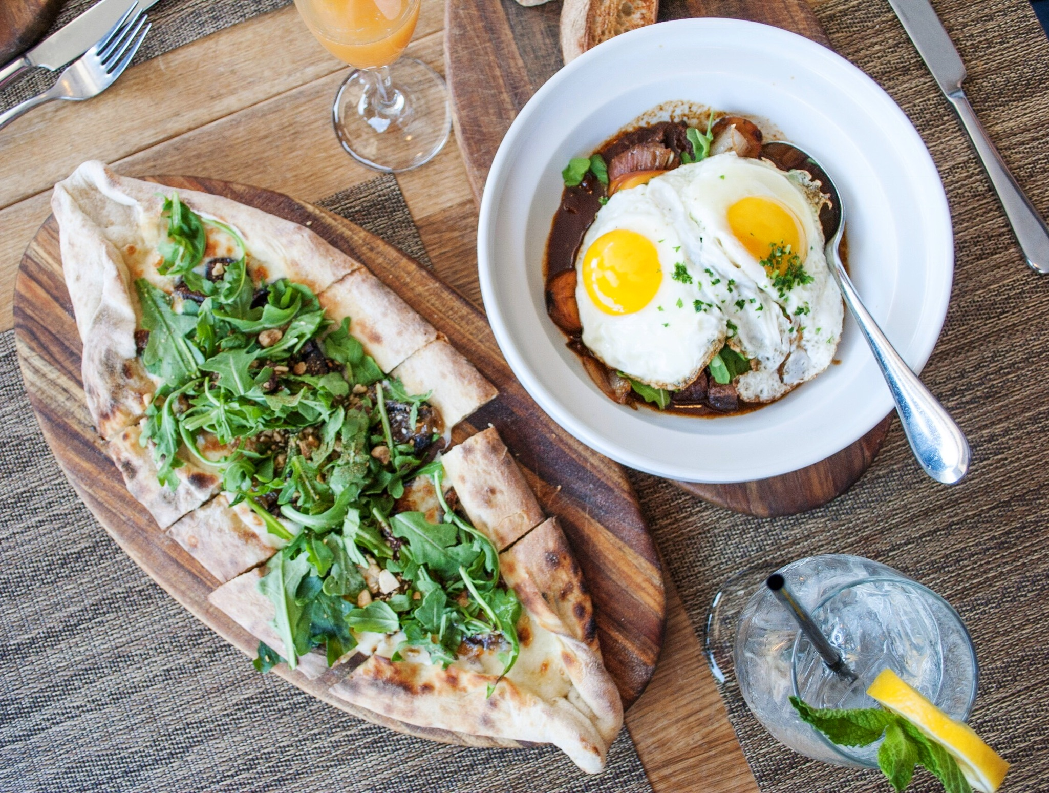 Fig and Arugula Pide and Short Rib Fricassée at Momed, Beverly Hills - Brunchographers