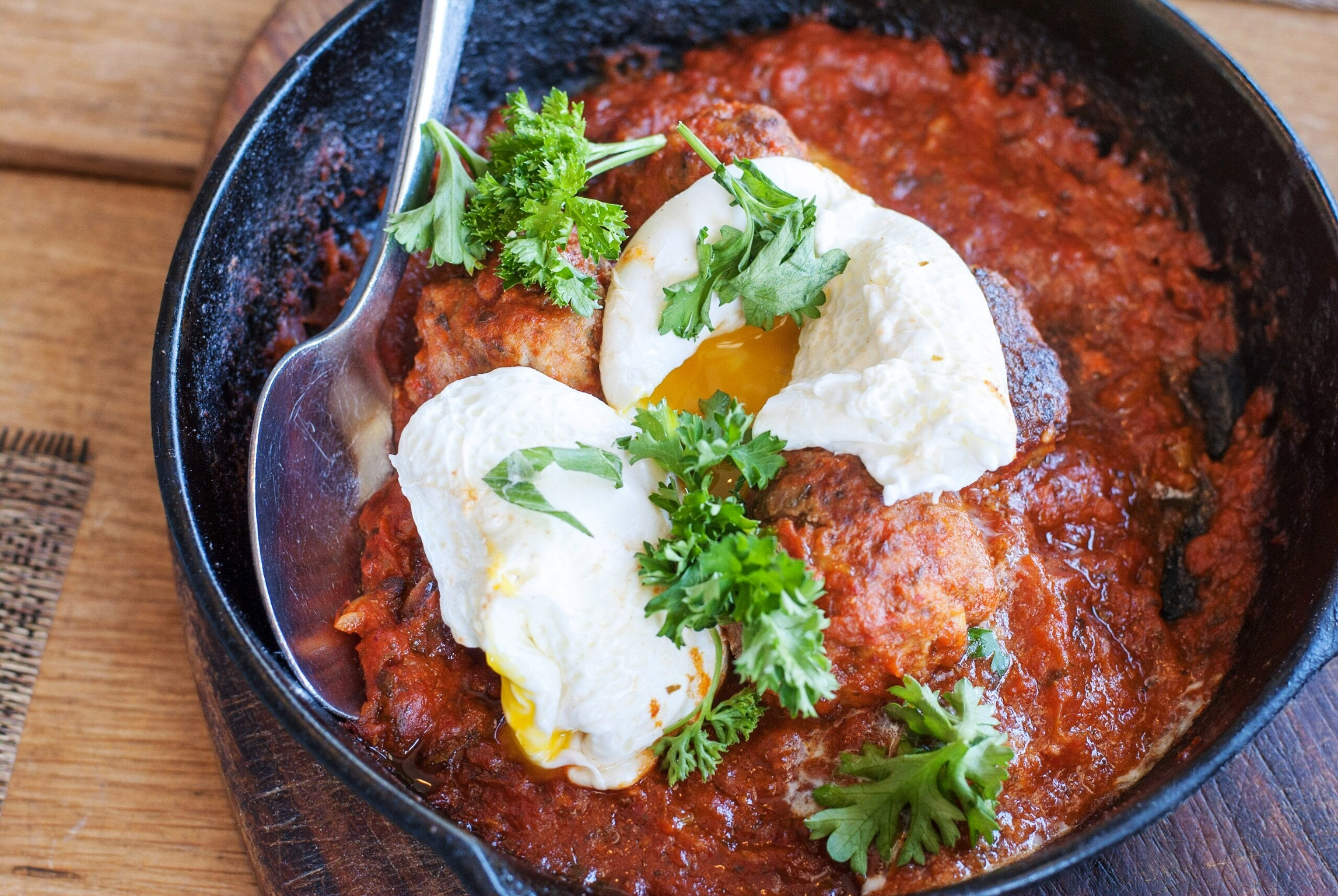 Hangover Meatballs at Short Rib Fricassée at Momed, Beverly Hills - Brunchographers