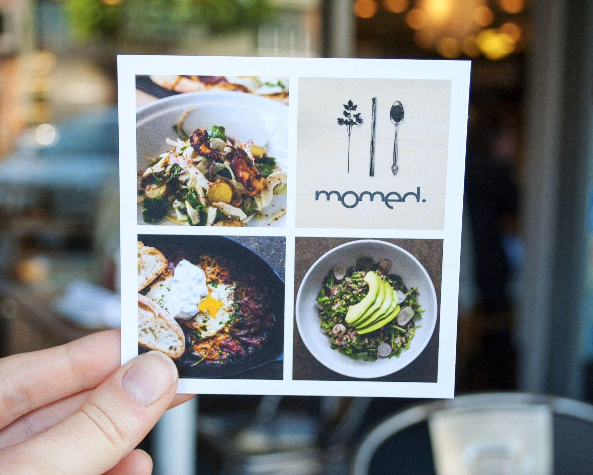 Appreciating the graphic design at at Momed, Beverly Hills - Brunchographers