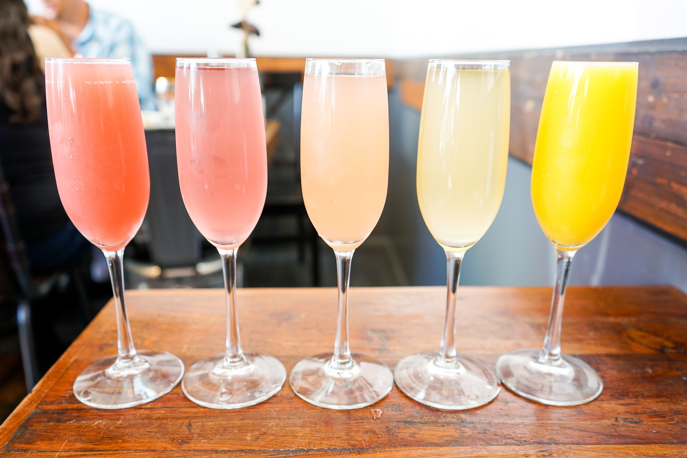 Rainbow of Mimosas at at The Rockefeller, Manhattan Beach, CA