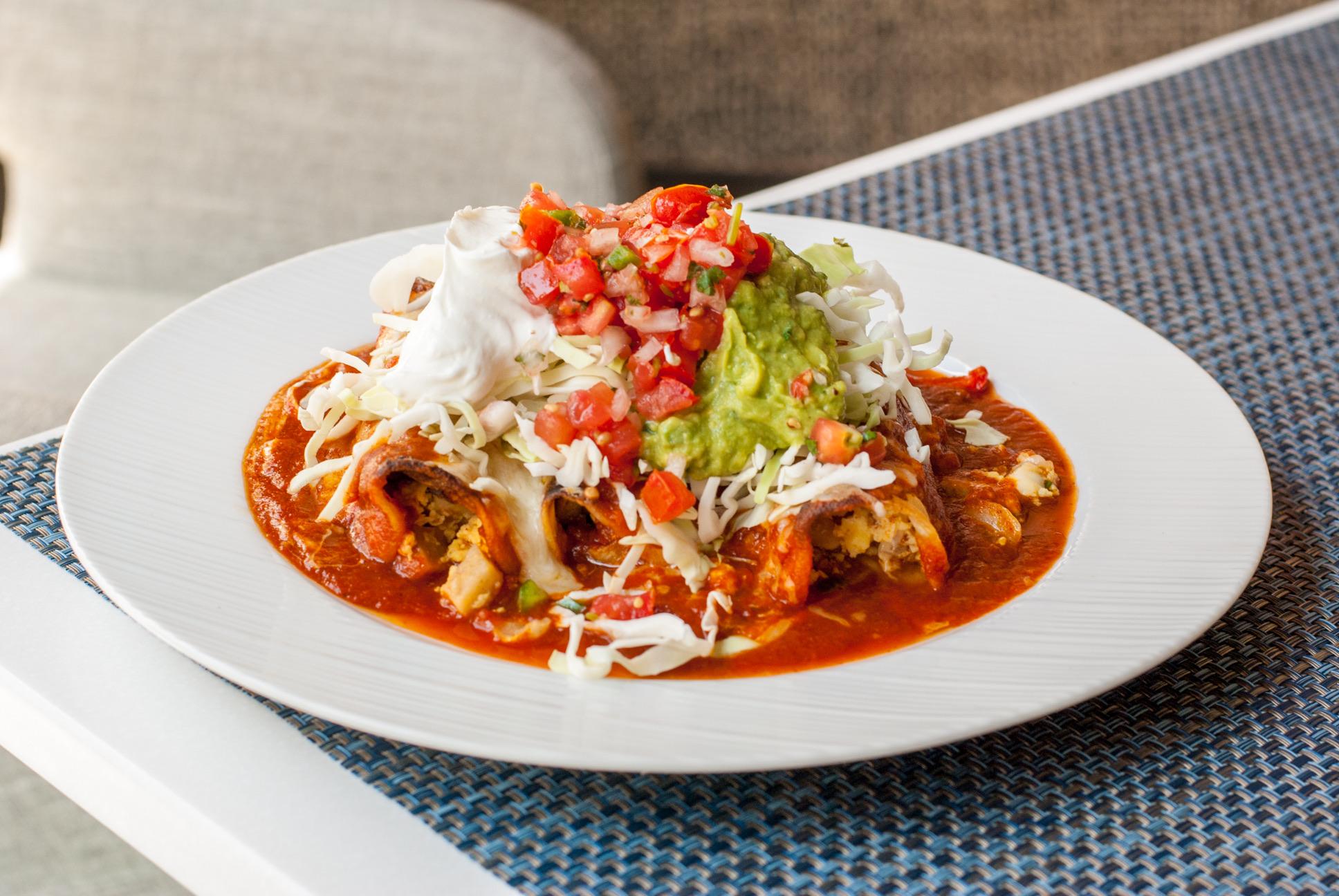 Breakfast Enchiladas at Beachside Restaurant & Bar, Marina del Rey, CA