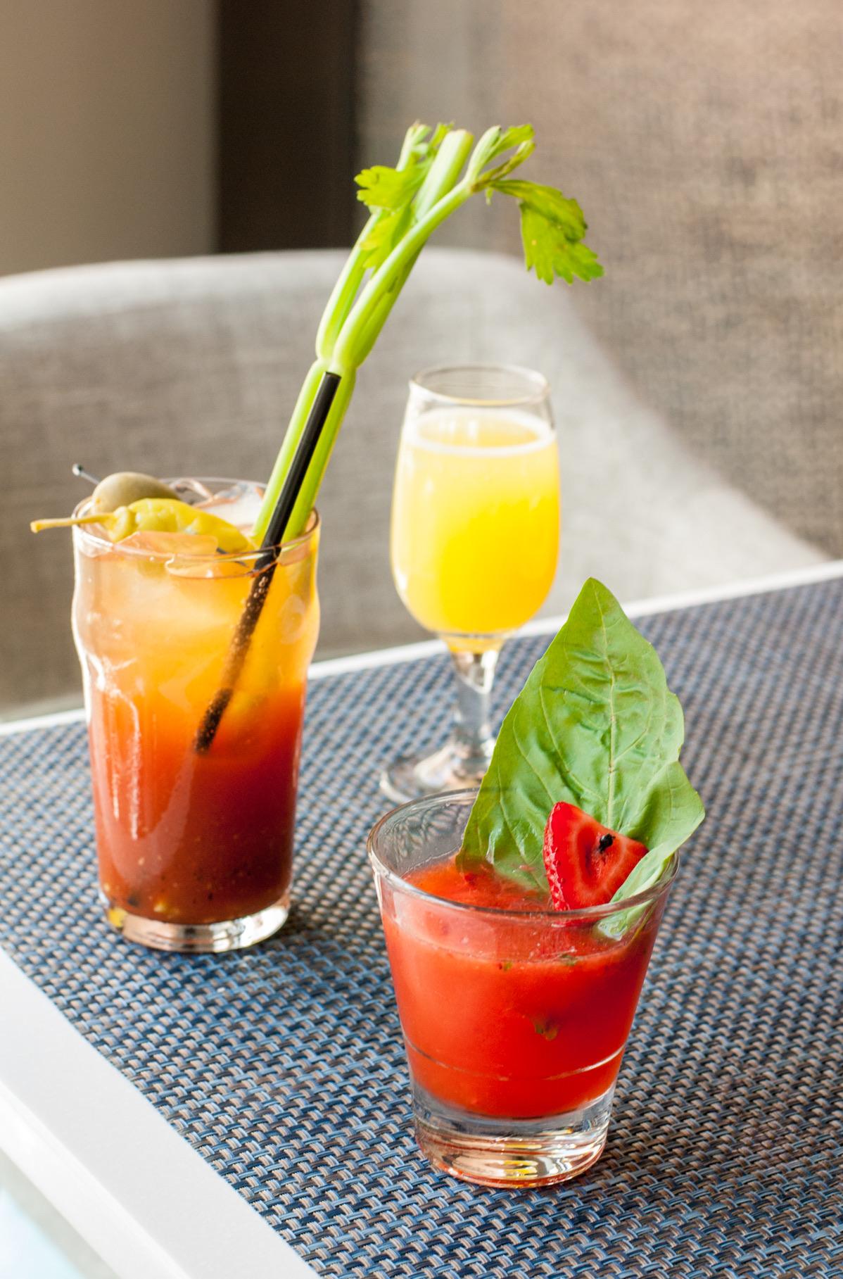 Bloody Mary, Mimosa, and Strawberry Basil Martini at Beachside Restaurant & Bar, Marina del Rey, CA