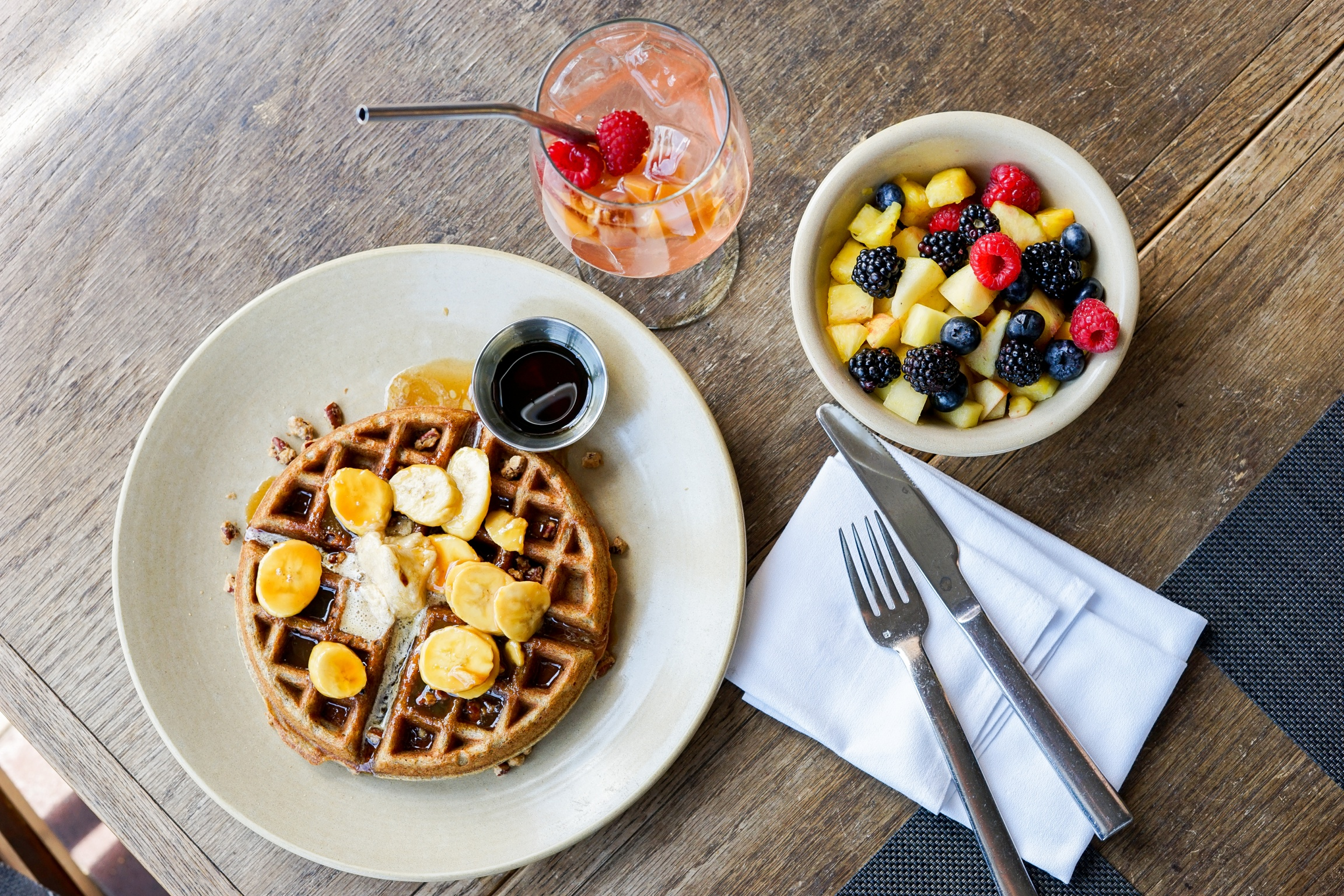 Buckwheat Waffle, Seasonal Sangria, and Fruit Salad at Akasha Restaurant, Culver City, CA