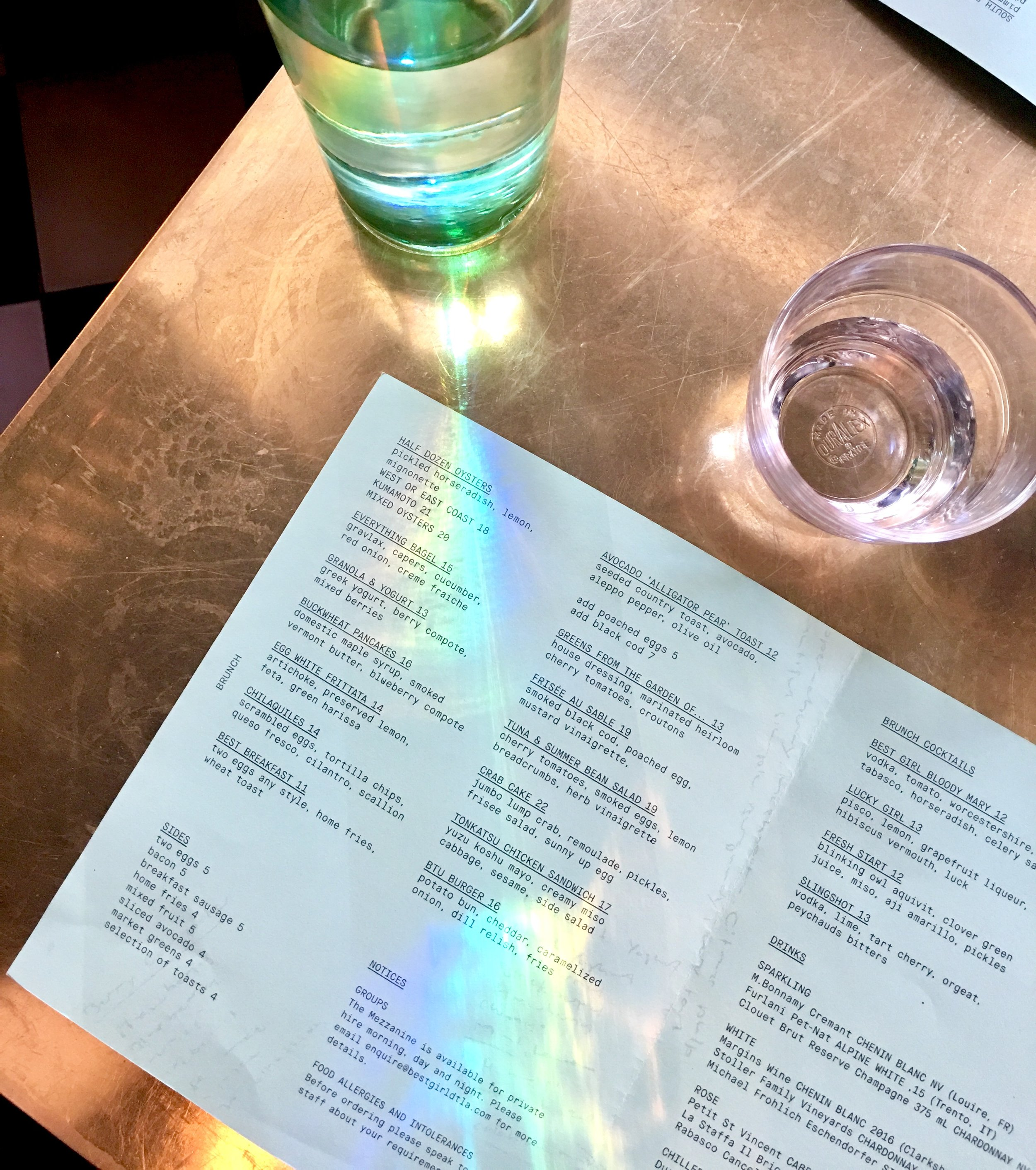 Rainbows over our menu at Best Girl, Los Angeles, CA