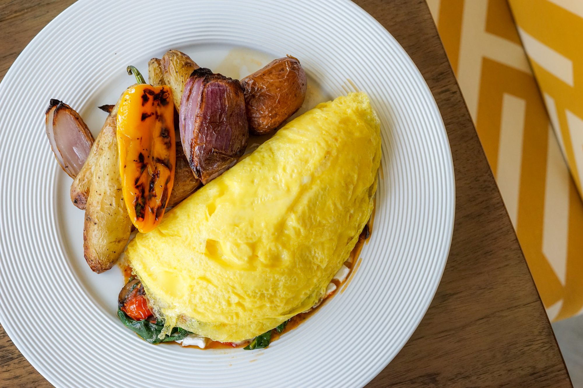 French Brie, Spinach, and Wild Mushroom Omelette,Blonde Restaurant at Inn at the Pier, Pismo Beach, CA