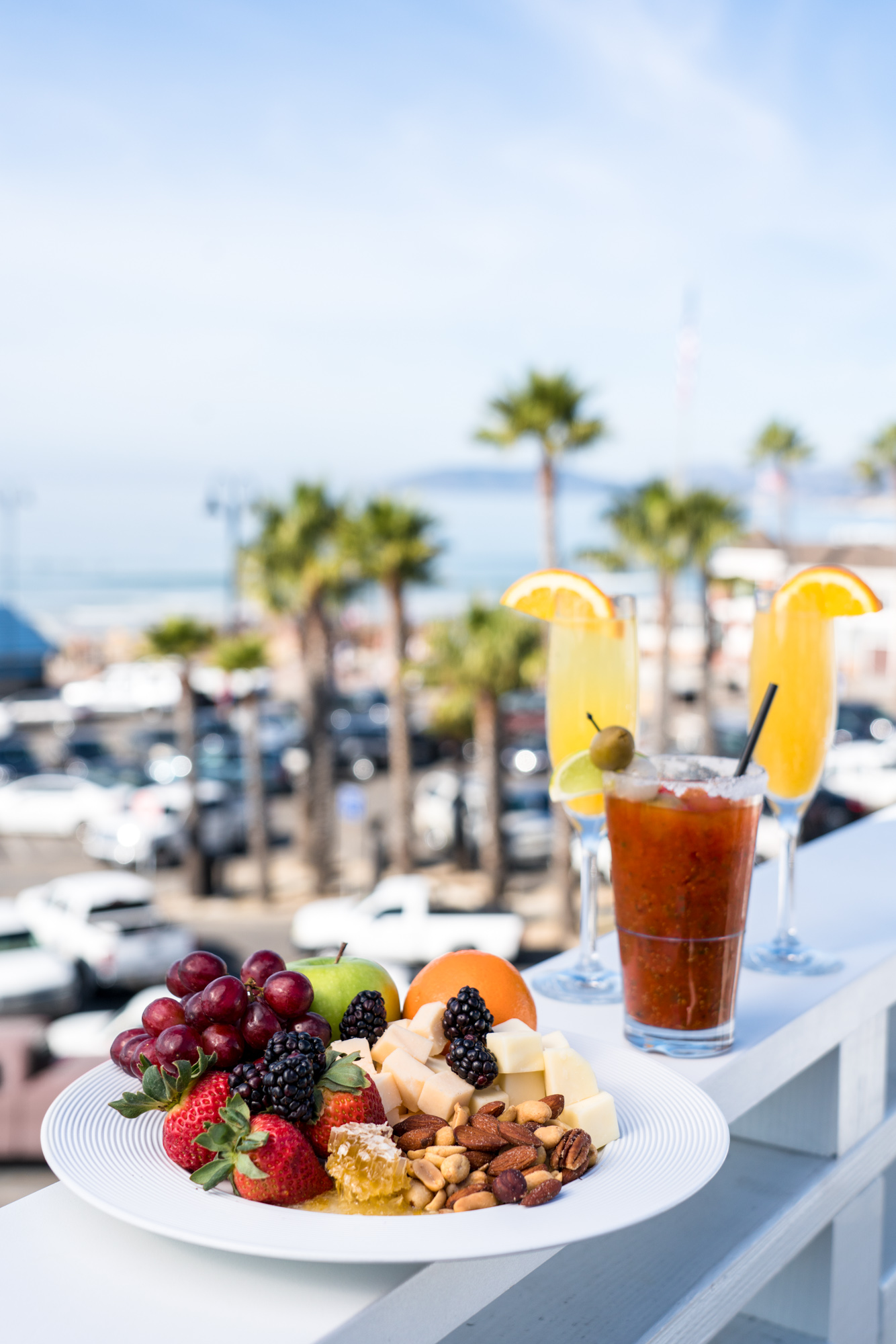 Fruit Plate and Cocktails at The Rooftop at Inn at the Pier, Pismo Beach, CA