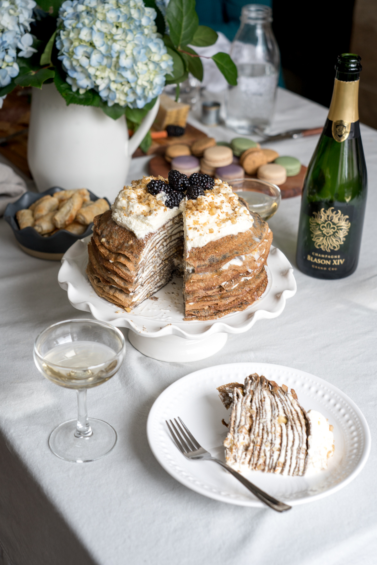 Buckwheat Crêpe Cake with Whipped Cream Cheese, Walnuts, and Honey - Brunchographers' French-Inspired Wine Tasting Brunch