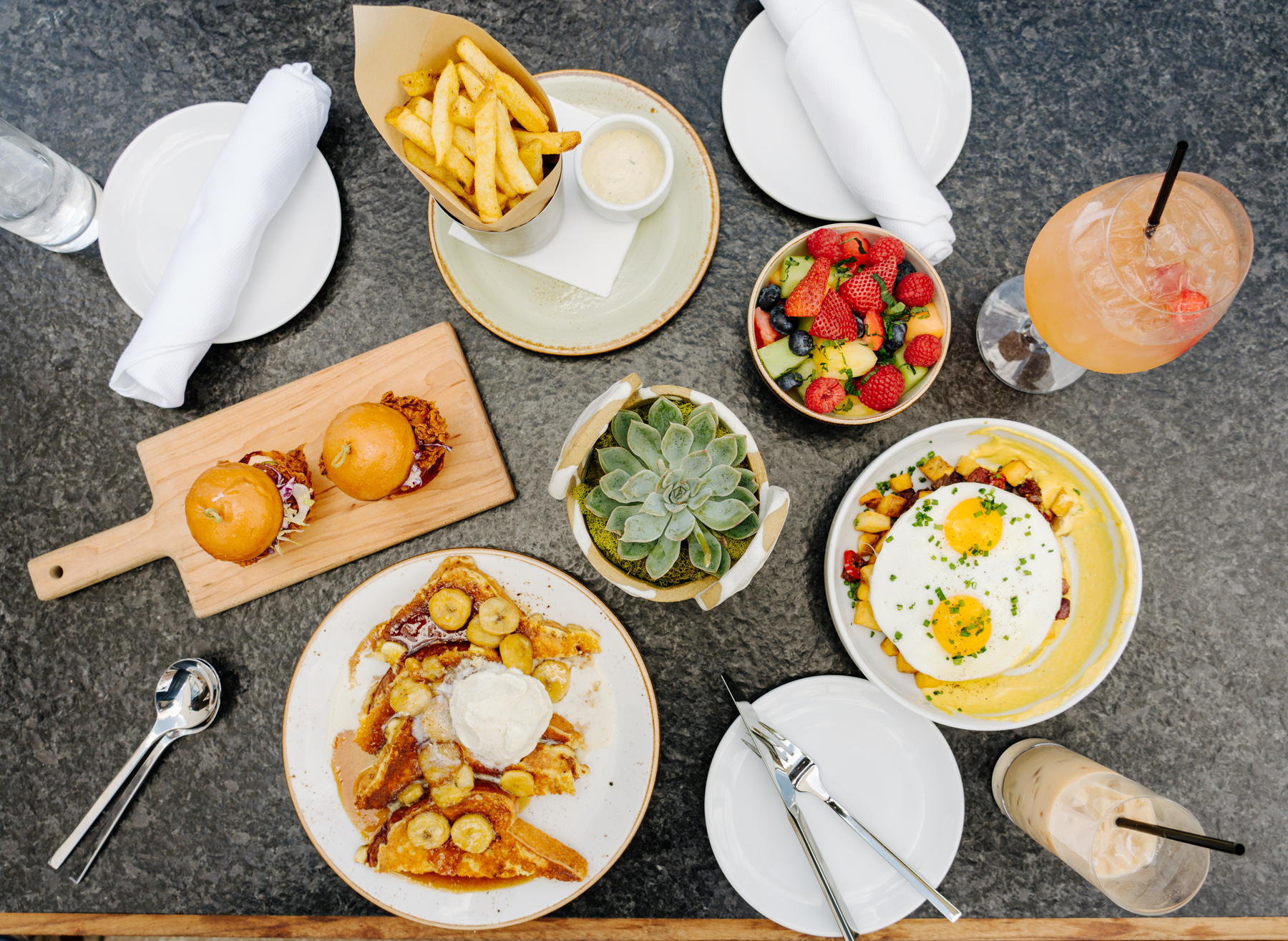 Beautiful Brunch Spread, Pool with a View, Filifera, Hollywood, CA - Brunchographers