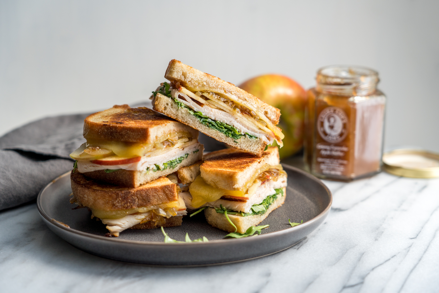 Apple and Turkey Grilled Cheese with Caramelized Shallots, by Bruchographers