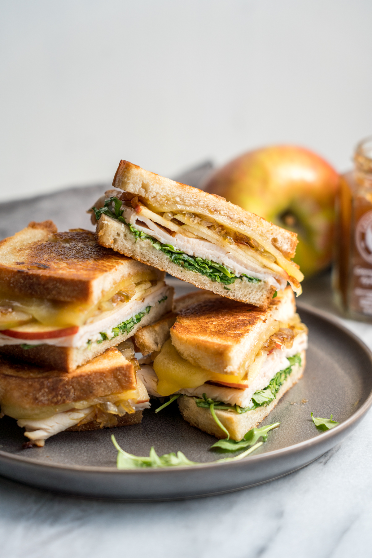 Apple and Turkey Grilled Cheese with Caramelized Shallots, by Brunchographers