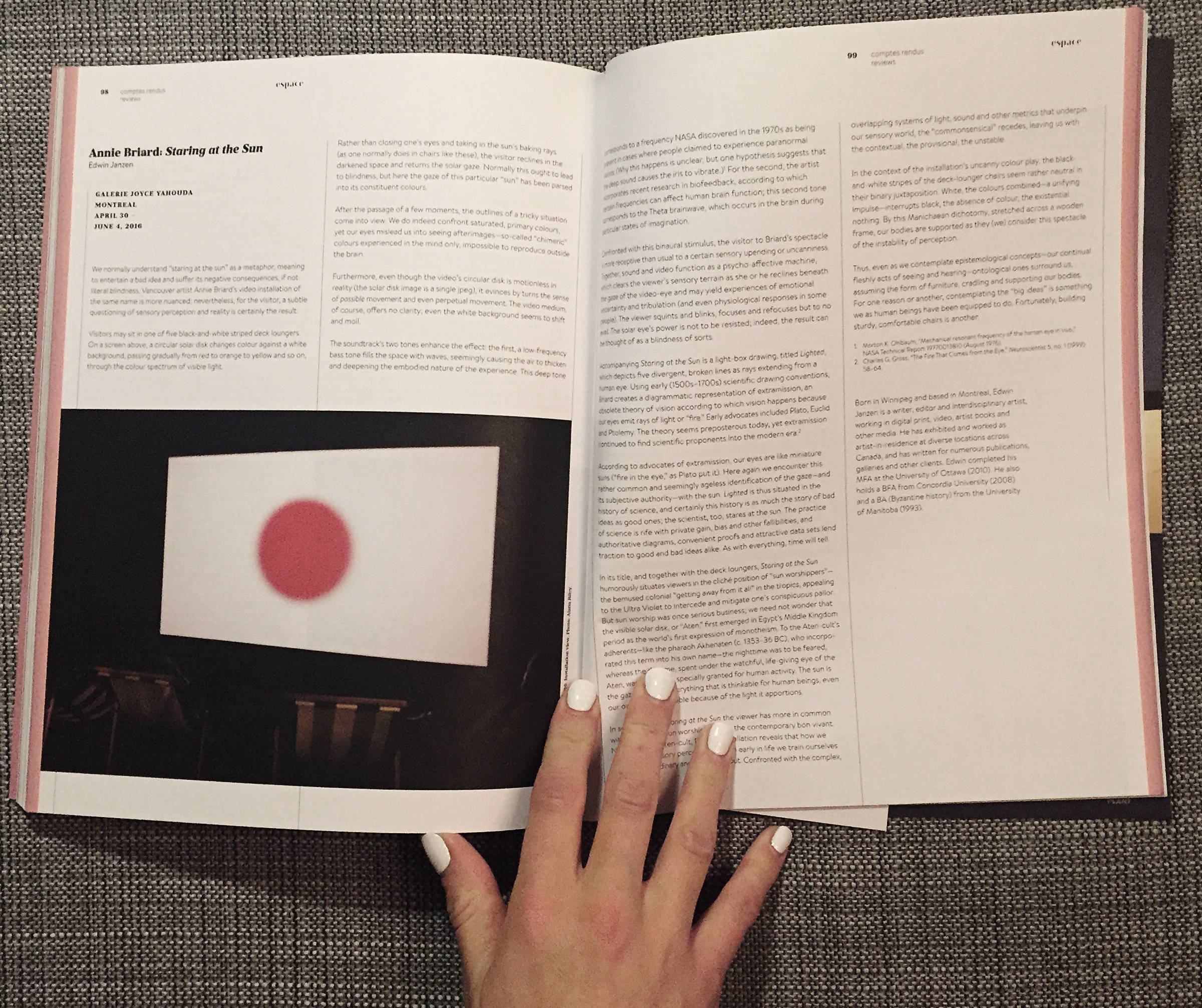 press - Espace art actuel magazine published an in-depth review by Edwin Janzen of my solo exhibition