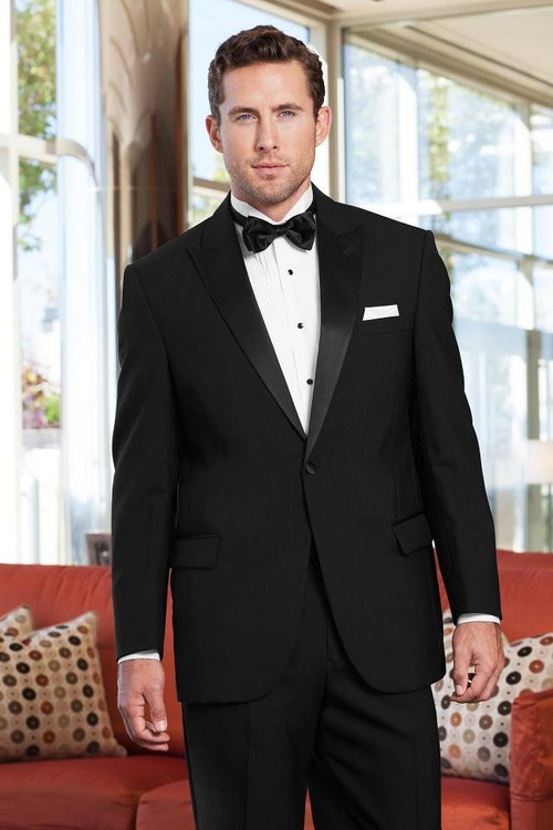 Classic Peak TuxEDO $79.95 - The Classic Peak Tuxedo is great for any budget! This tuxedo is a classic look- a black tuxedo, white shirt, black open back vest, and black tie! (TuxBux do not apply)