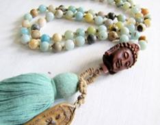 Turquoise, Jasper + Wood Mala