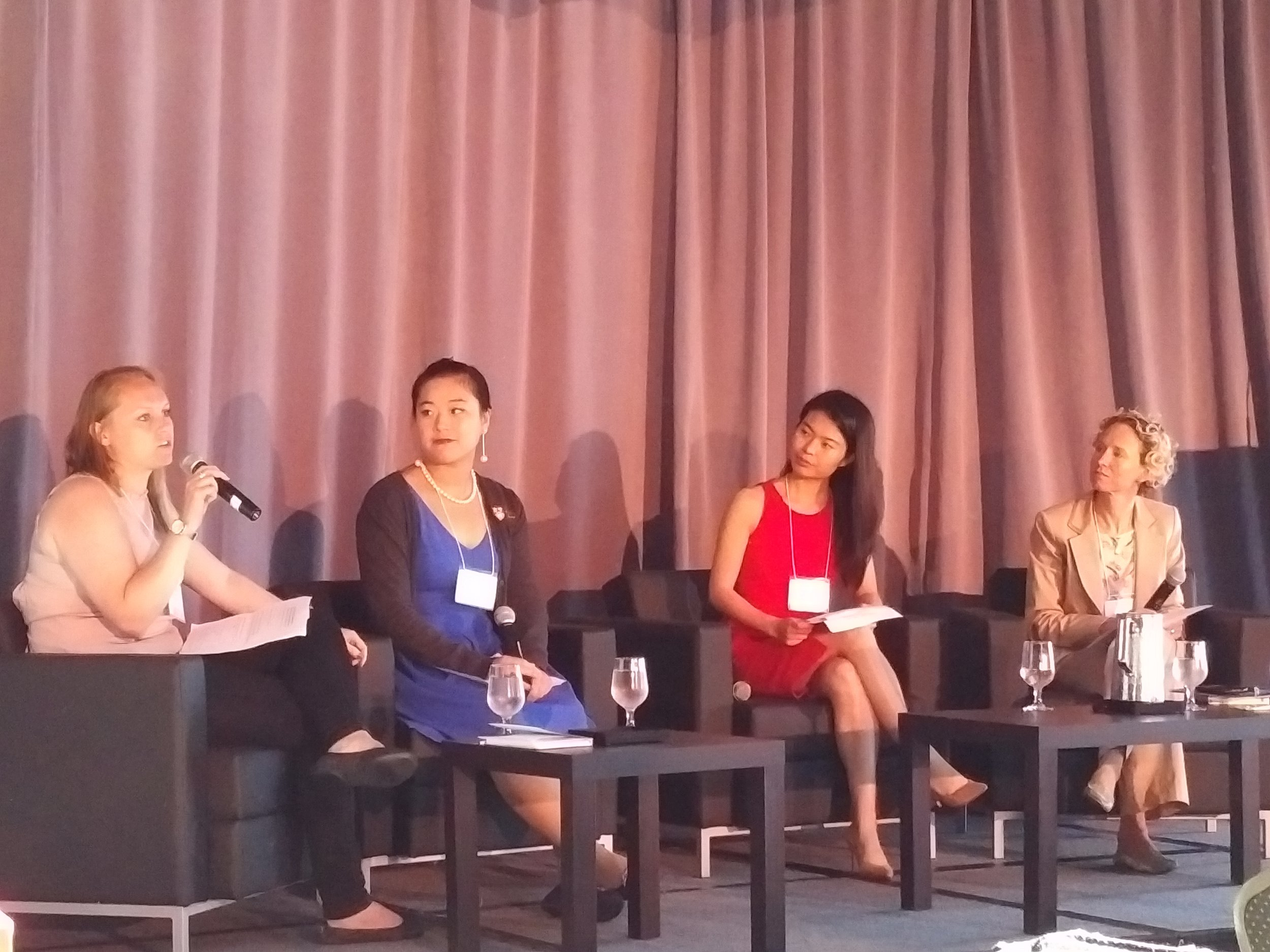 Recent international graduates, (left to right) Mischka Jacobs, Freya Qi and Christine Qin Yang, talk about their international experience and their transition from student to professional with Wendy Luther (far right), President & CEO of EduNova, as moderator