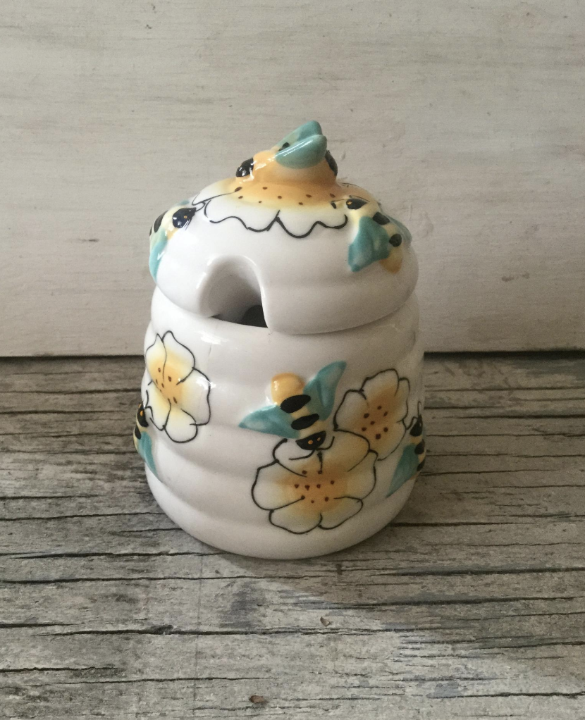 vintage ceramic honey pot antique pewter beehive shoppe bee