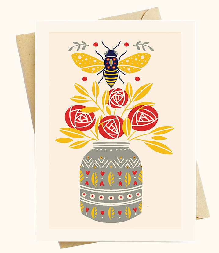 Bohemian card set,art note Apis birds and bees art card set meaningful gift for naturalist Bee notecard set set of 8 cards and envelopes
