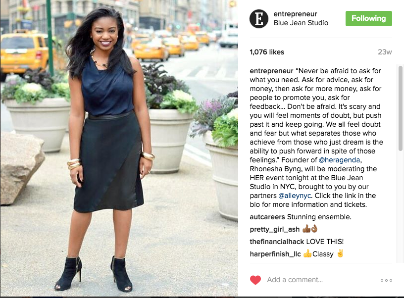 Entrepreneur Mag Instagram - Rhonesha Byng