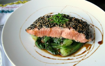 SESAME CRUSTED SALMON WITH MISO GLAZE