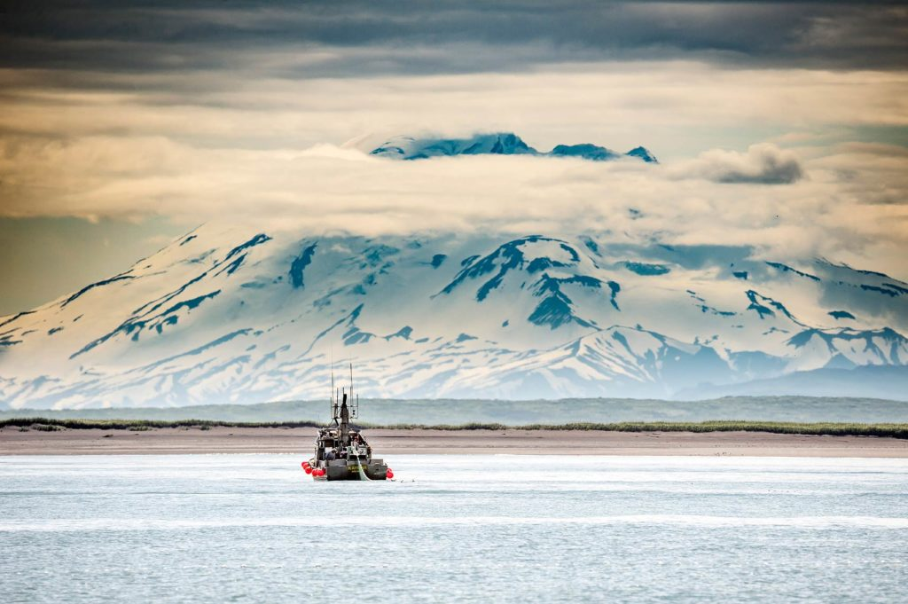 The F/V Kahuna makes a set in front Mt. Peulik, a volcano in the Aleutian Range.