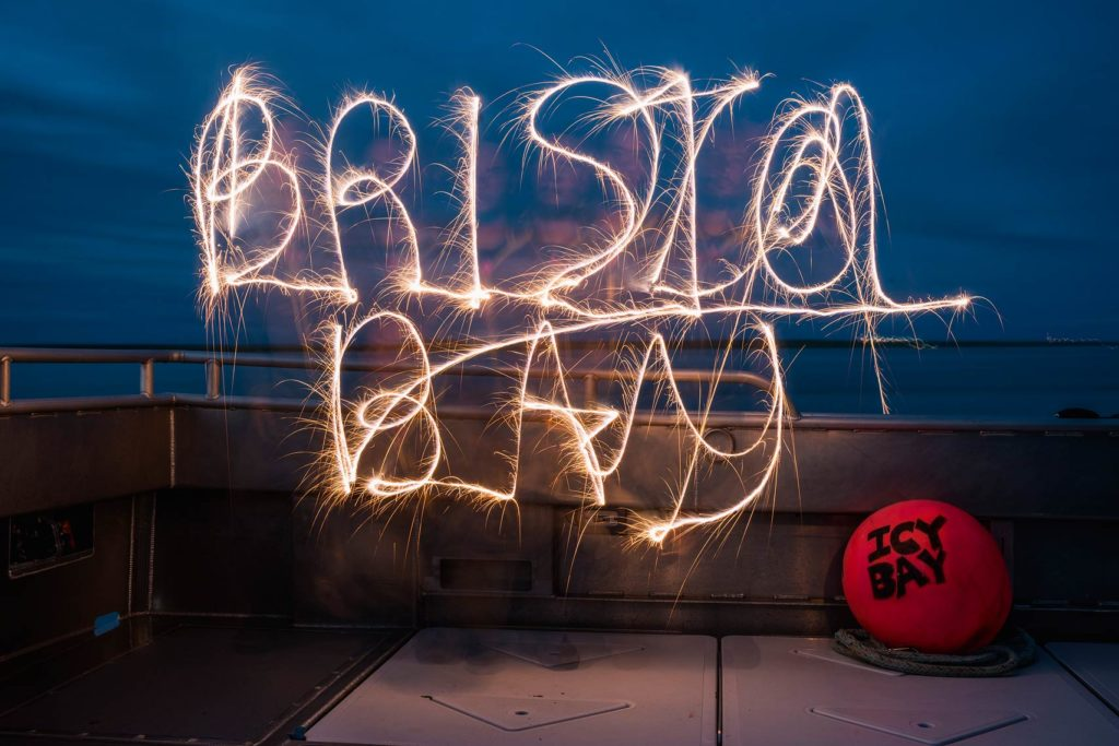 Recreated an oldie but a goodie from years ago by writing Bristol Bay with sparklers to celebrate the 4th on the back deck of the F/V Icy Bay.