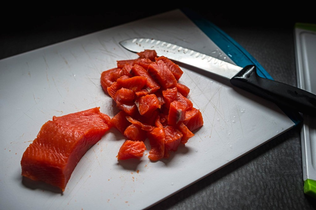 Powered by sockeye! We eat A LOT of sockeye while fishing, as it is our main source of fresh protein… and it's delicious. These tasty red treats are bound for a boat favorite Cioppino.